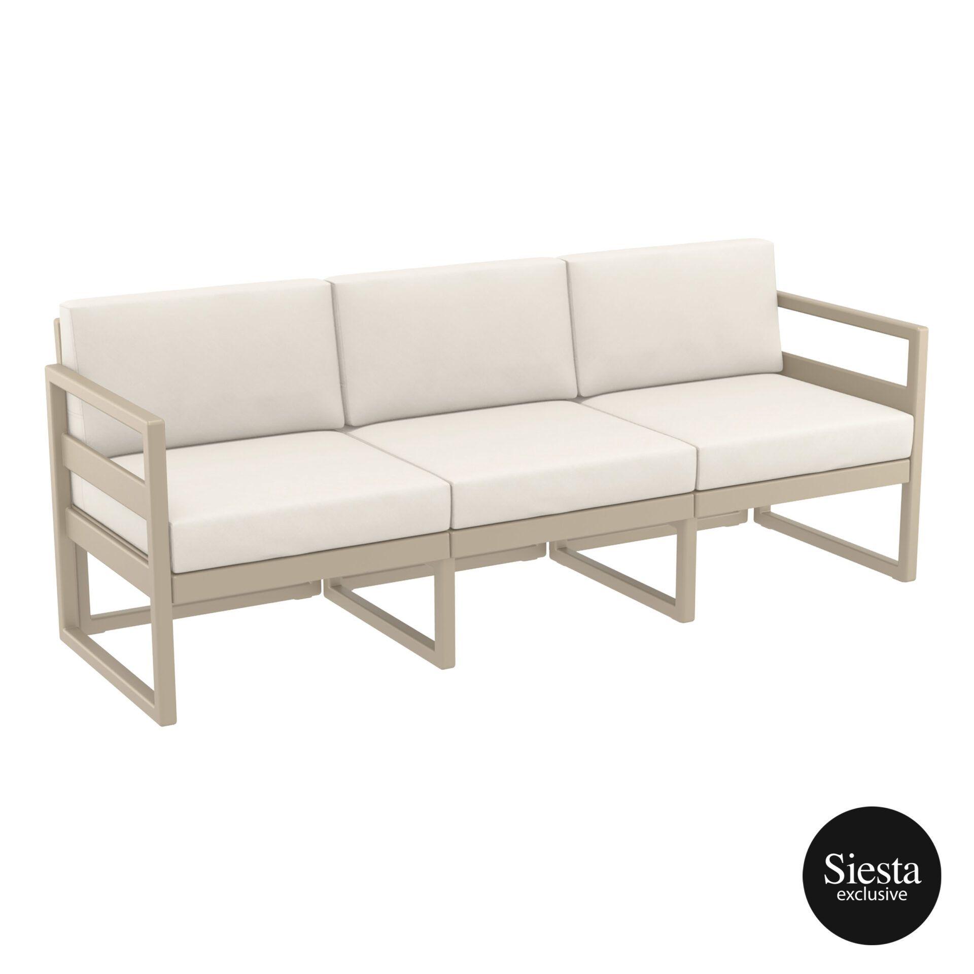 mykonos resort sofa xl taupe beige front side 1