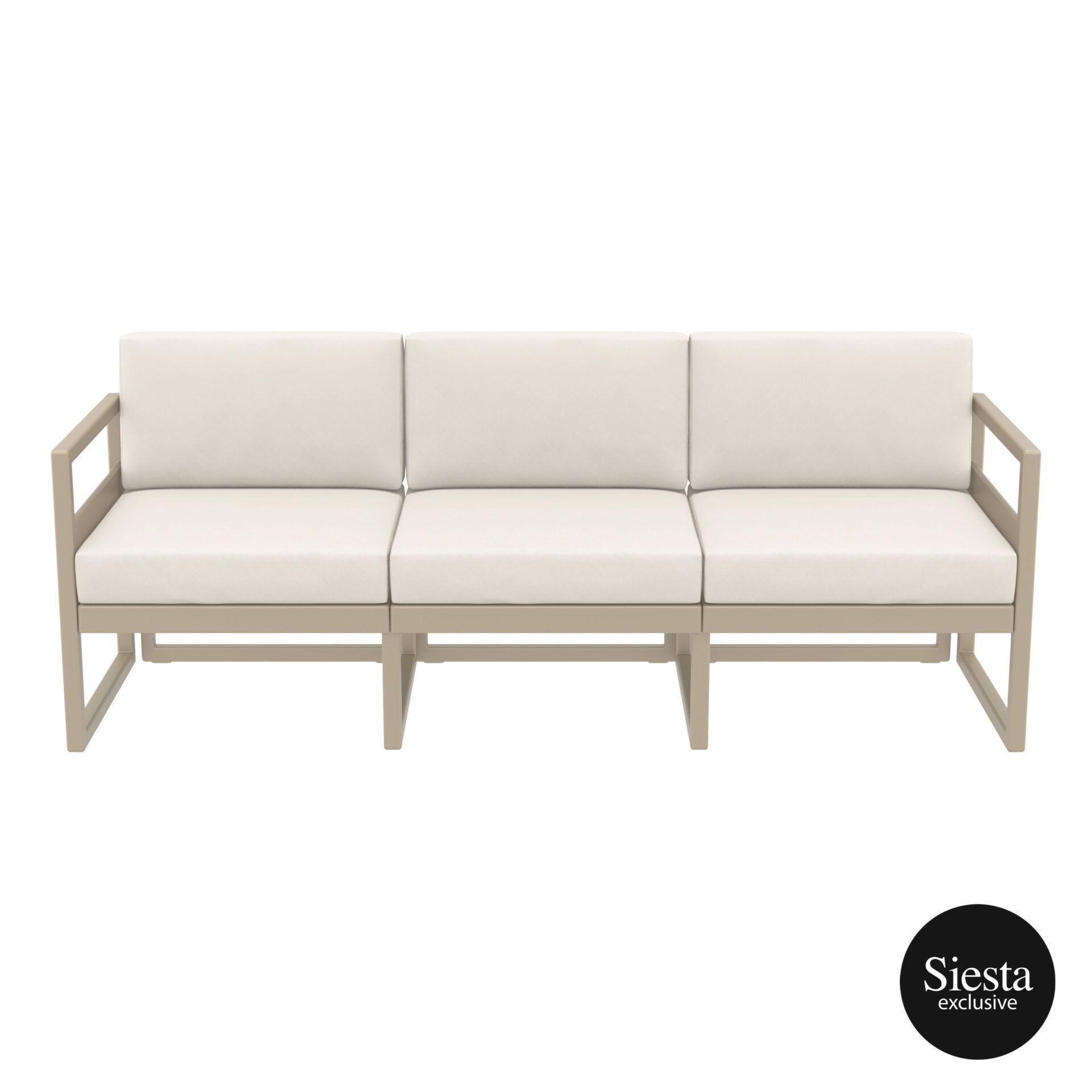 mykonos resort sofa xl taupe beige front