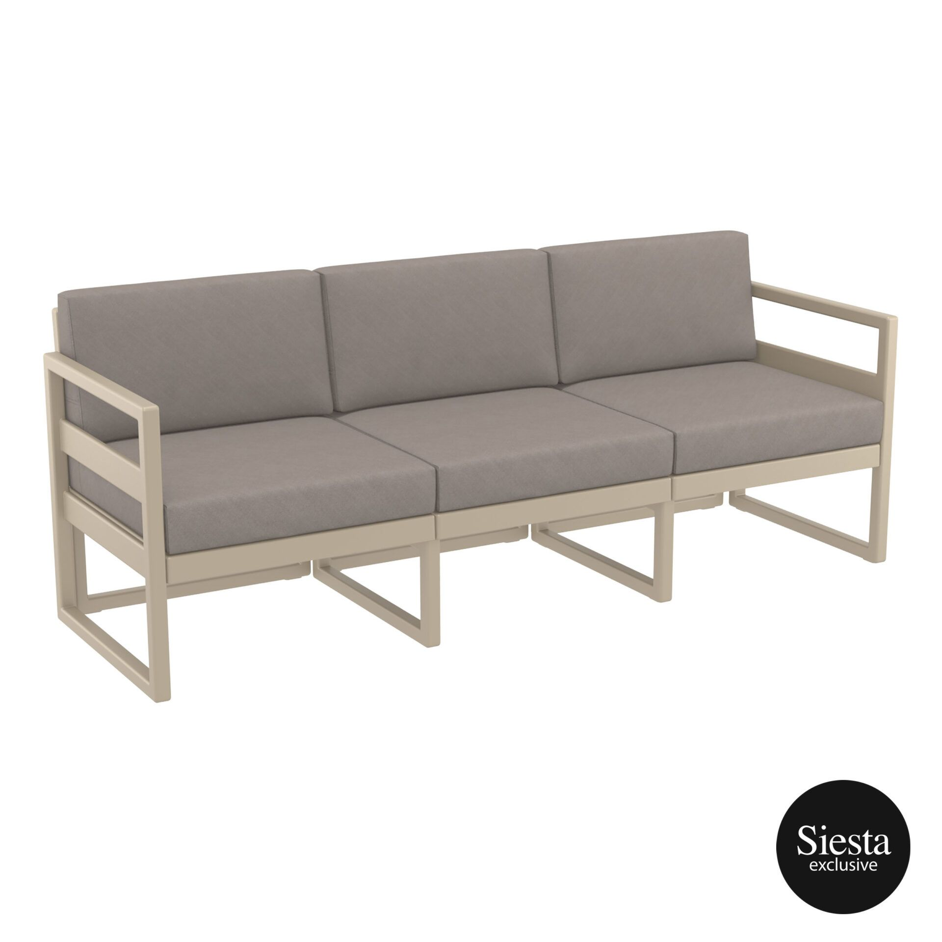 mykonos resort sofa xl taupe brown front side 1