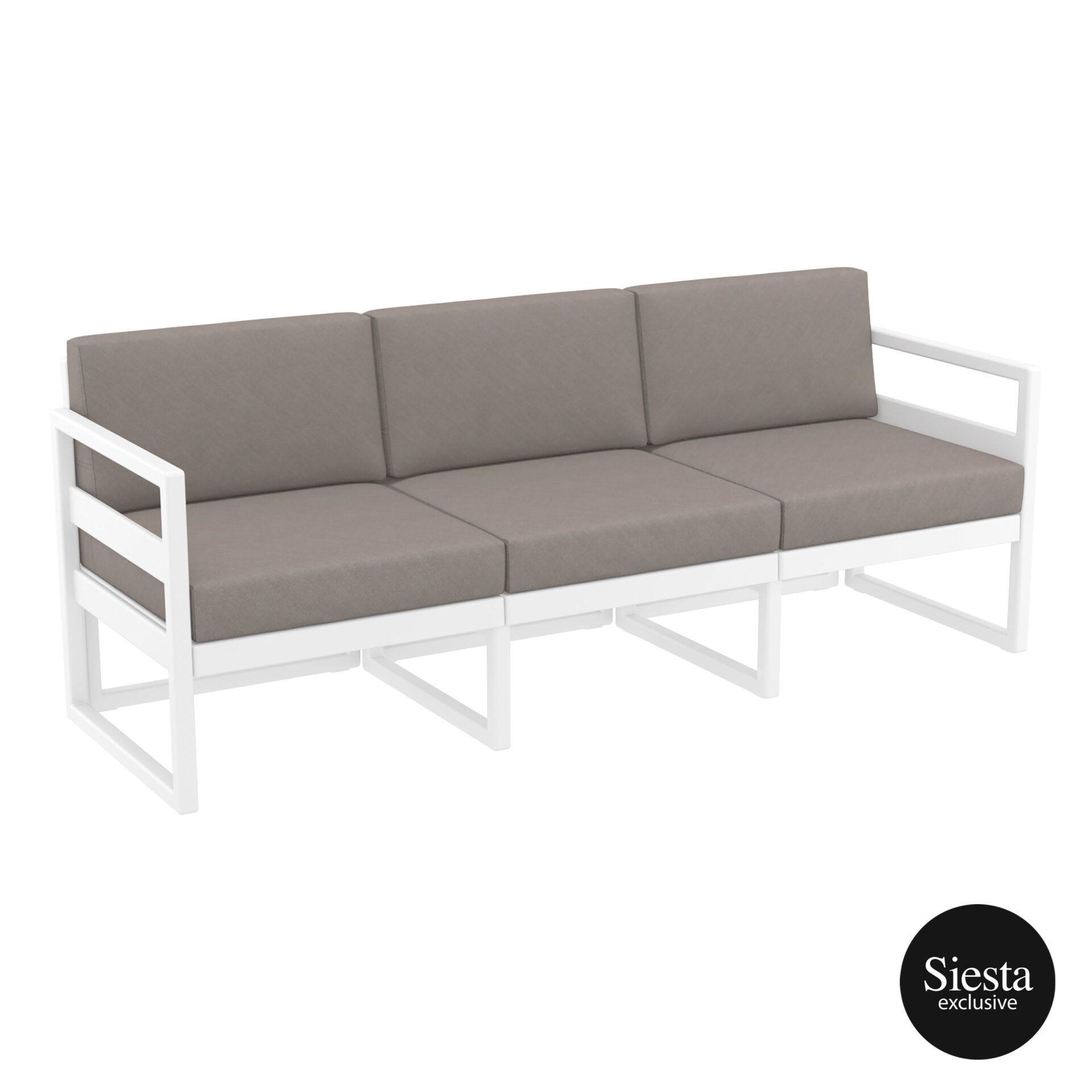 mykonos resort sofa xl white brown front side