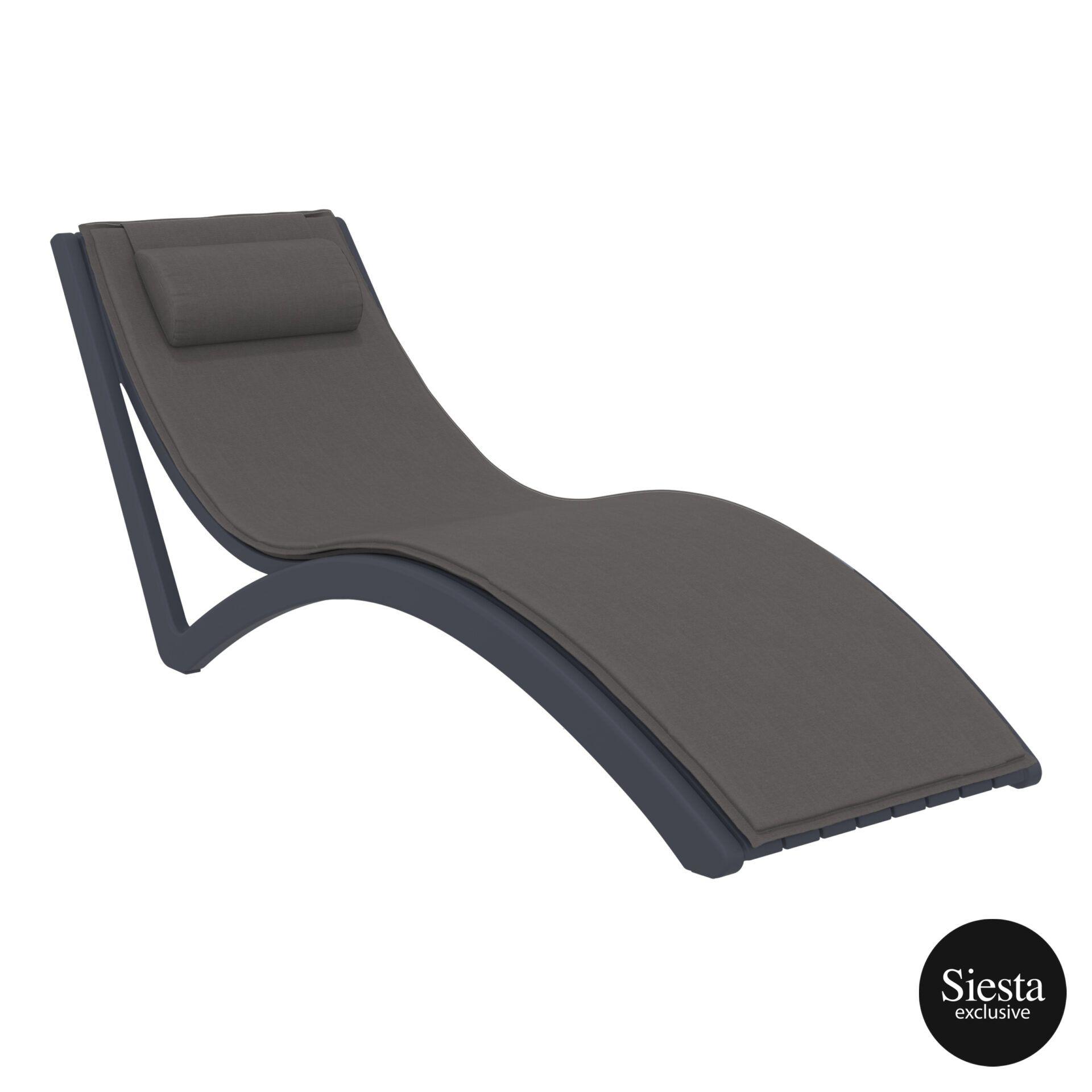 outdoor polypropylene slim sunlounger pillow cushion darkgrey darkgrey front side 1