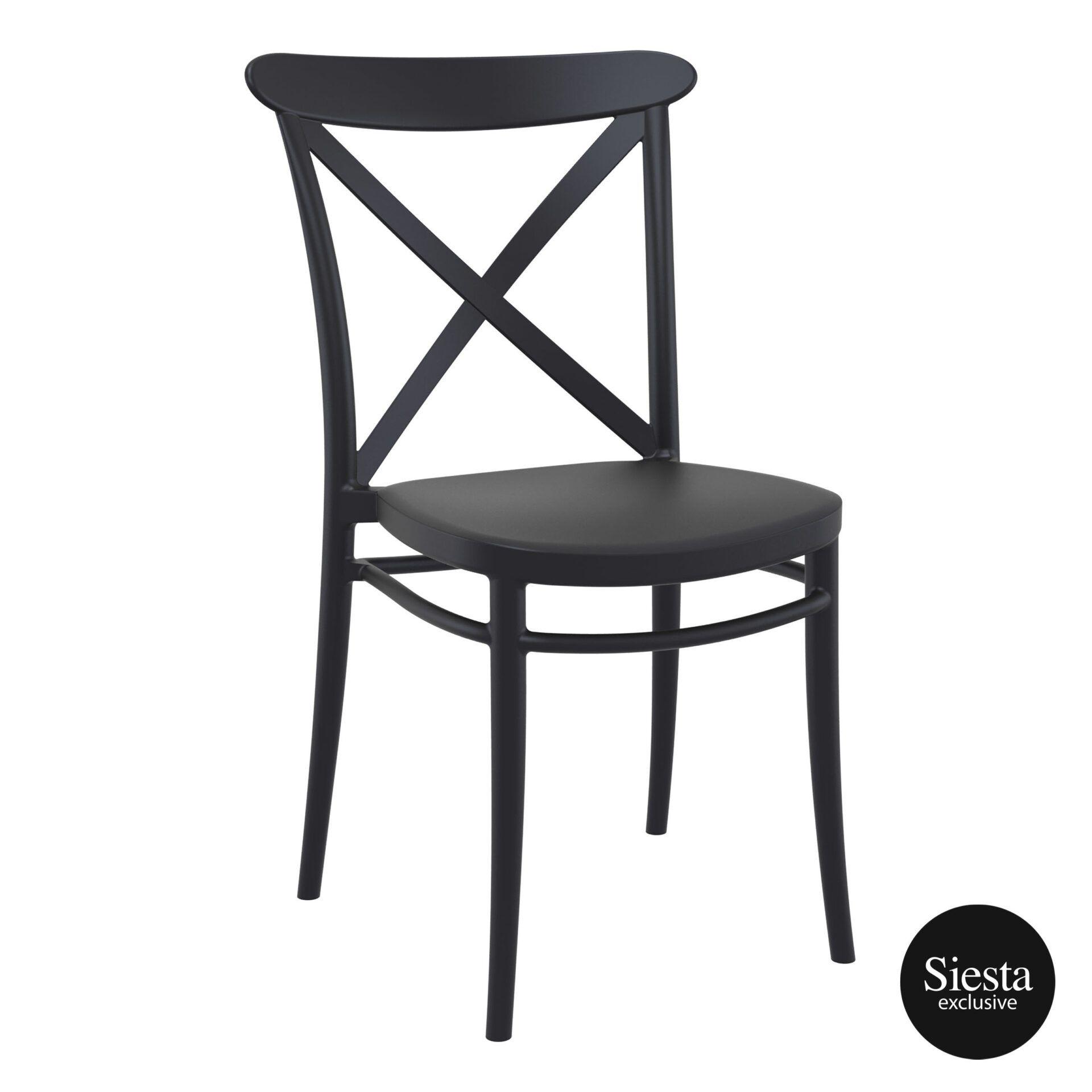 Cafe Polypropylene Cross Chair black front side