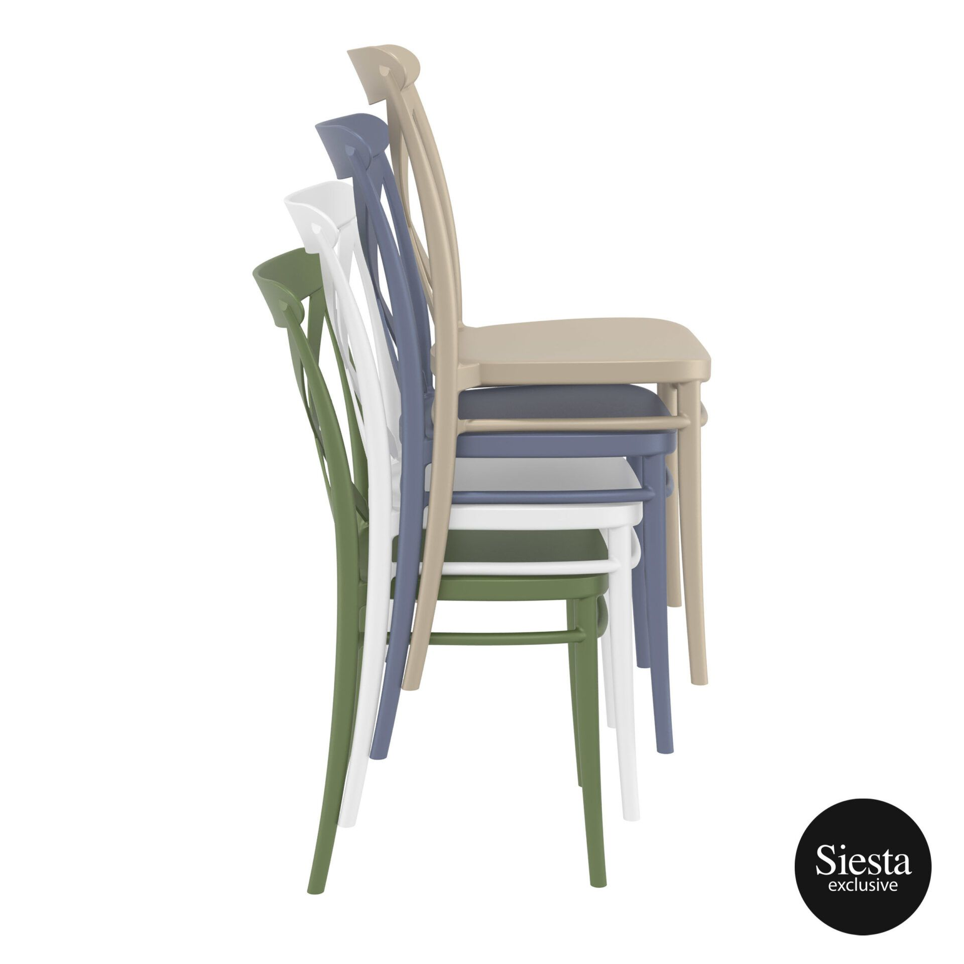 Cafe Polypropylene Cross Chair stack