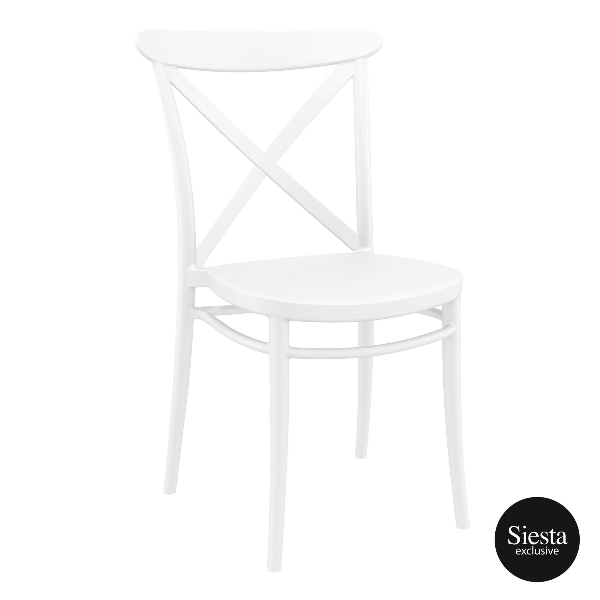 Cafe Polypropylene Cross Chair white front side