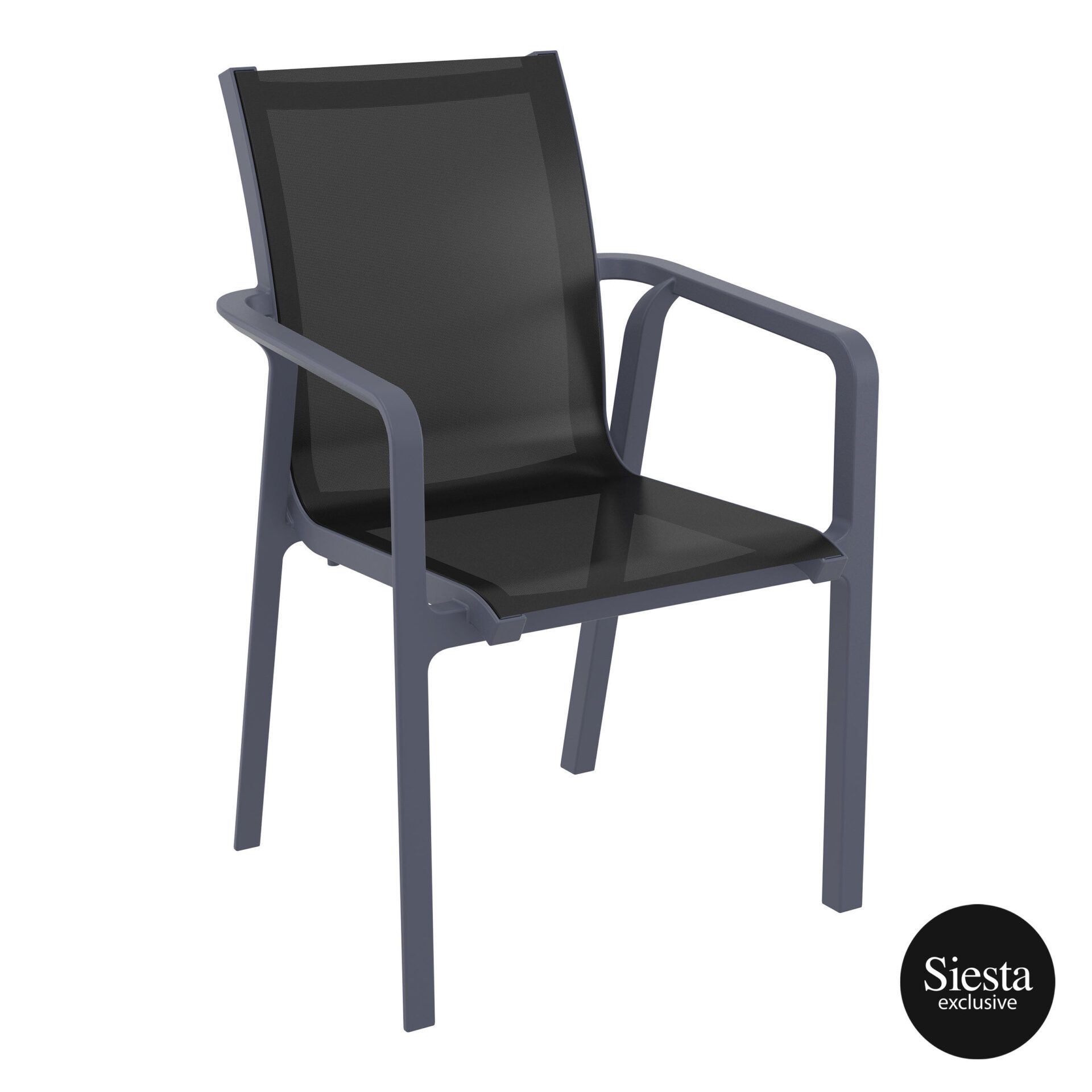 Outdoor Seating Pacific Armchair darkgrey black front side