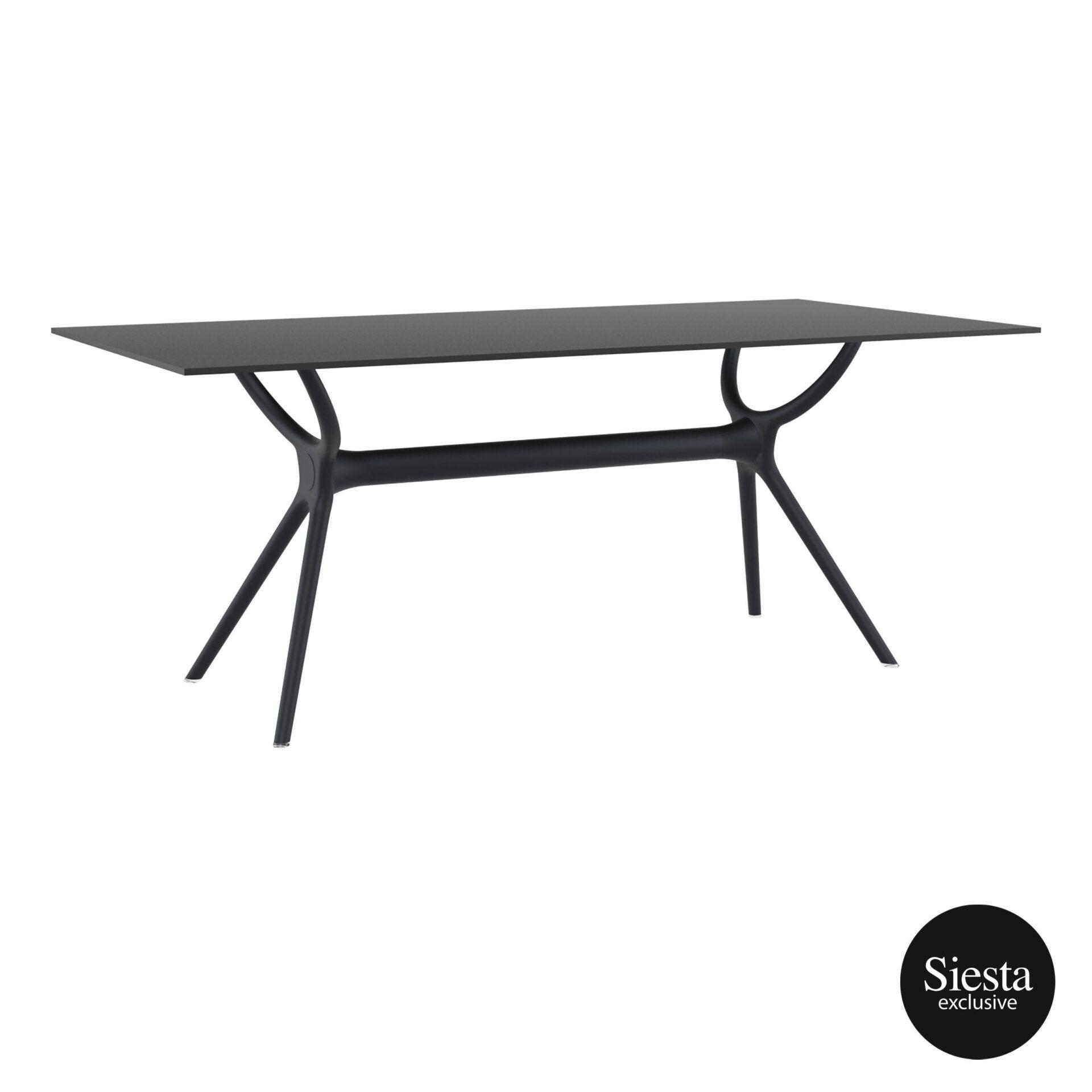 Polypropylene Dining Air Table 180 black front side 2