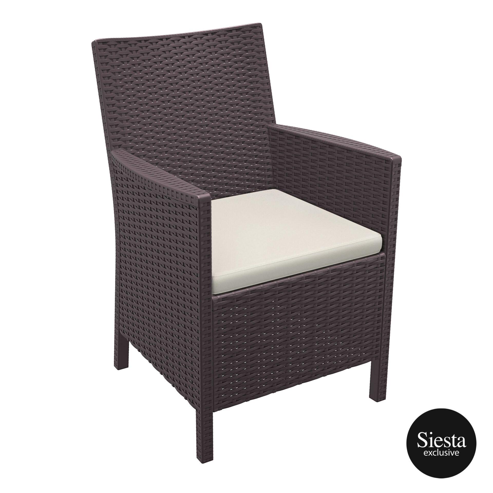california tub chair cushion brown front side