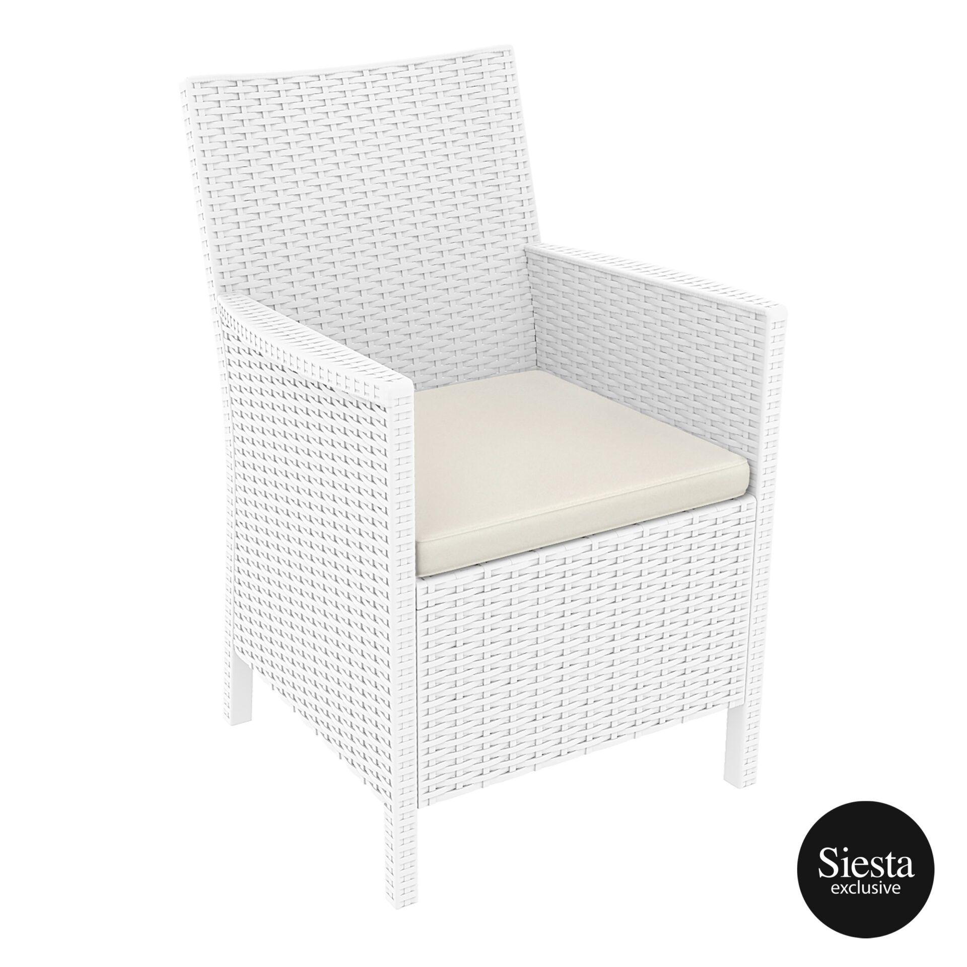 california tub chair cushion white front side 2