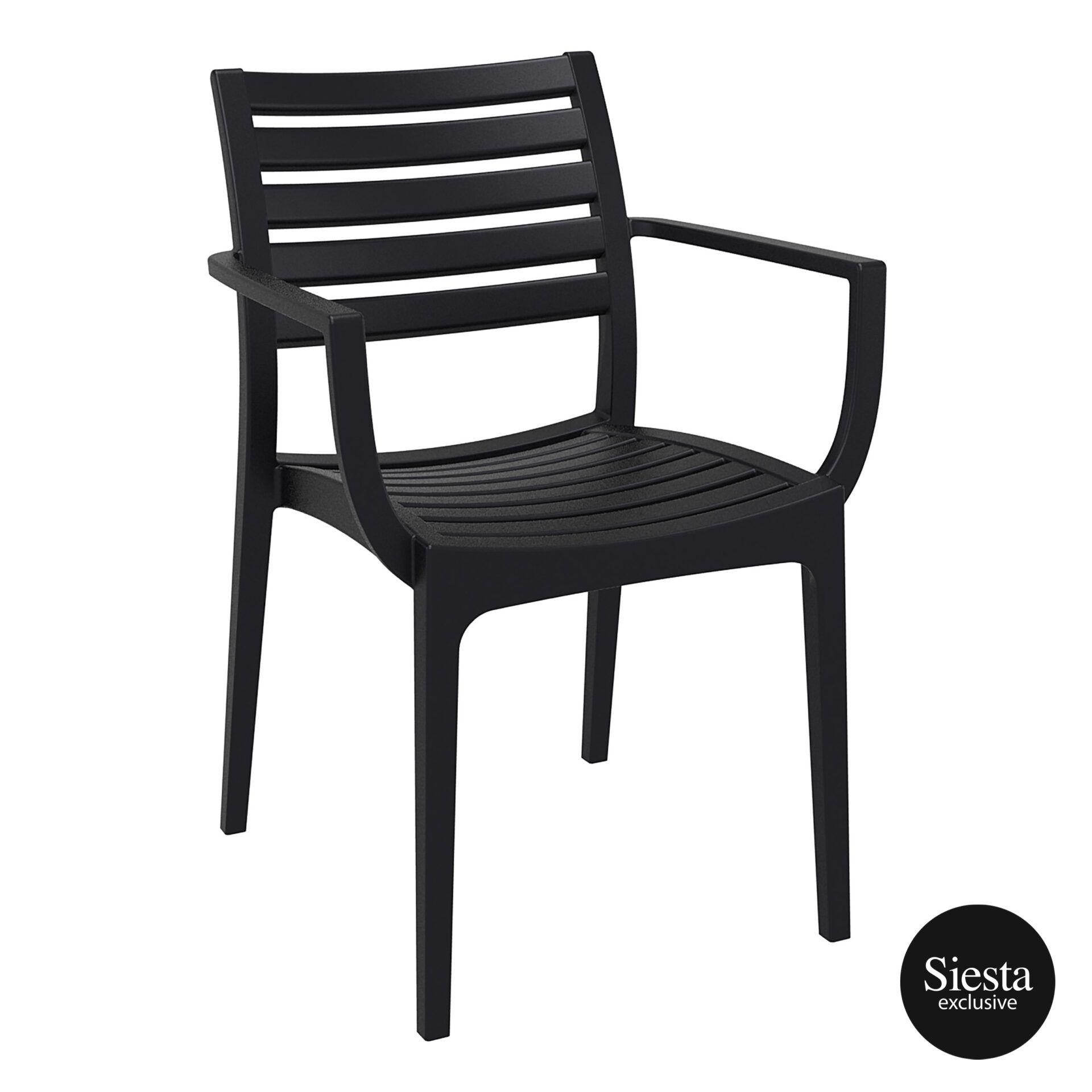 dining artemis armchair black front side