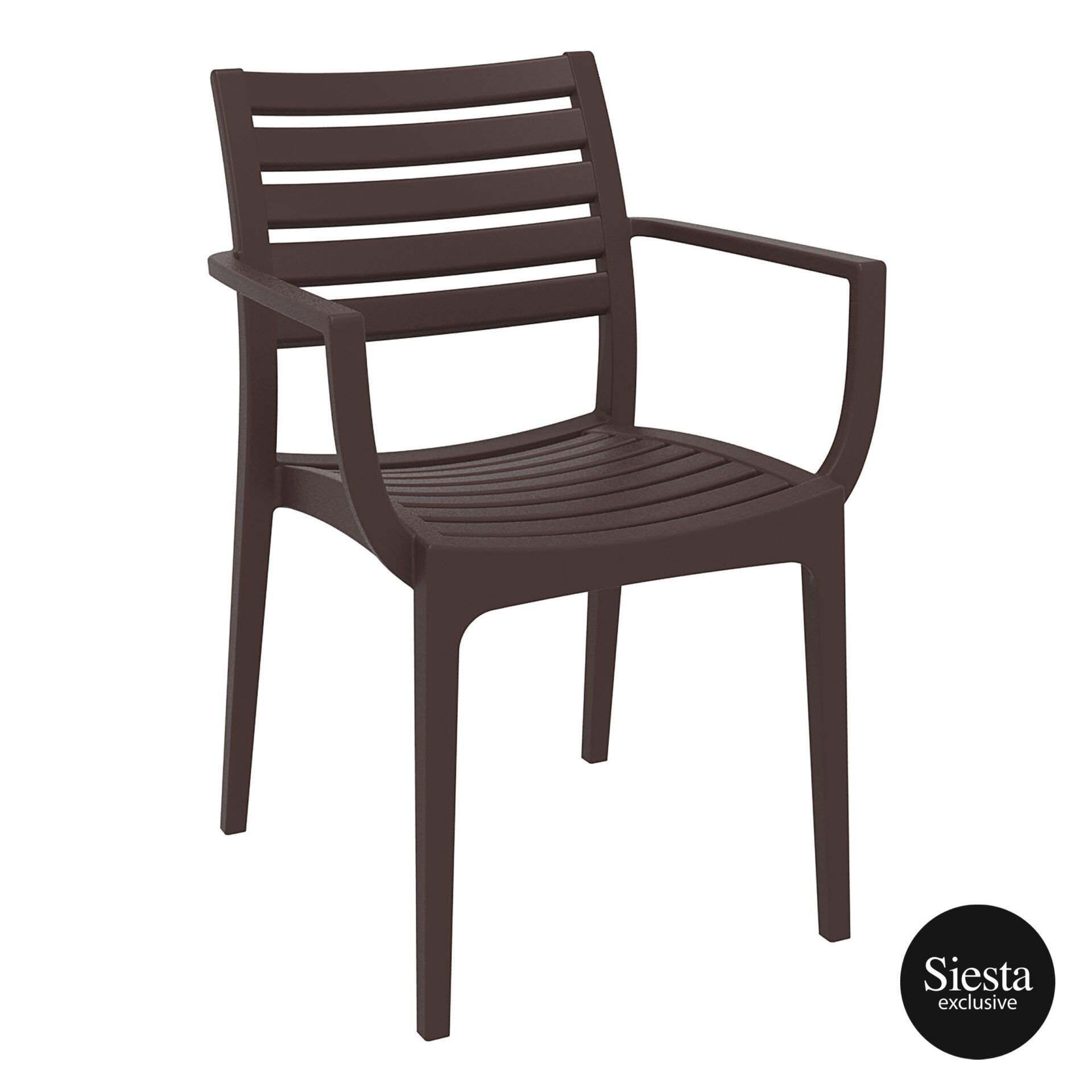 dining artemis armchair brown front side