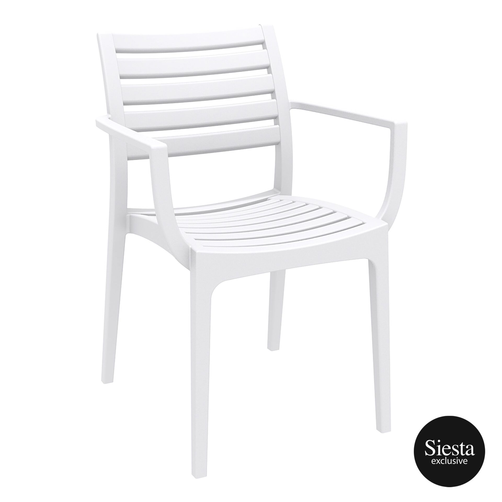 dining artemis armchair white front side
