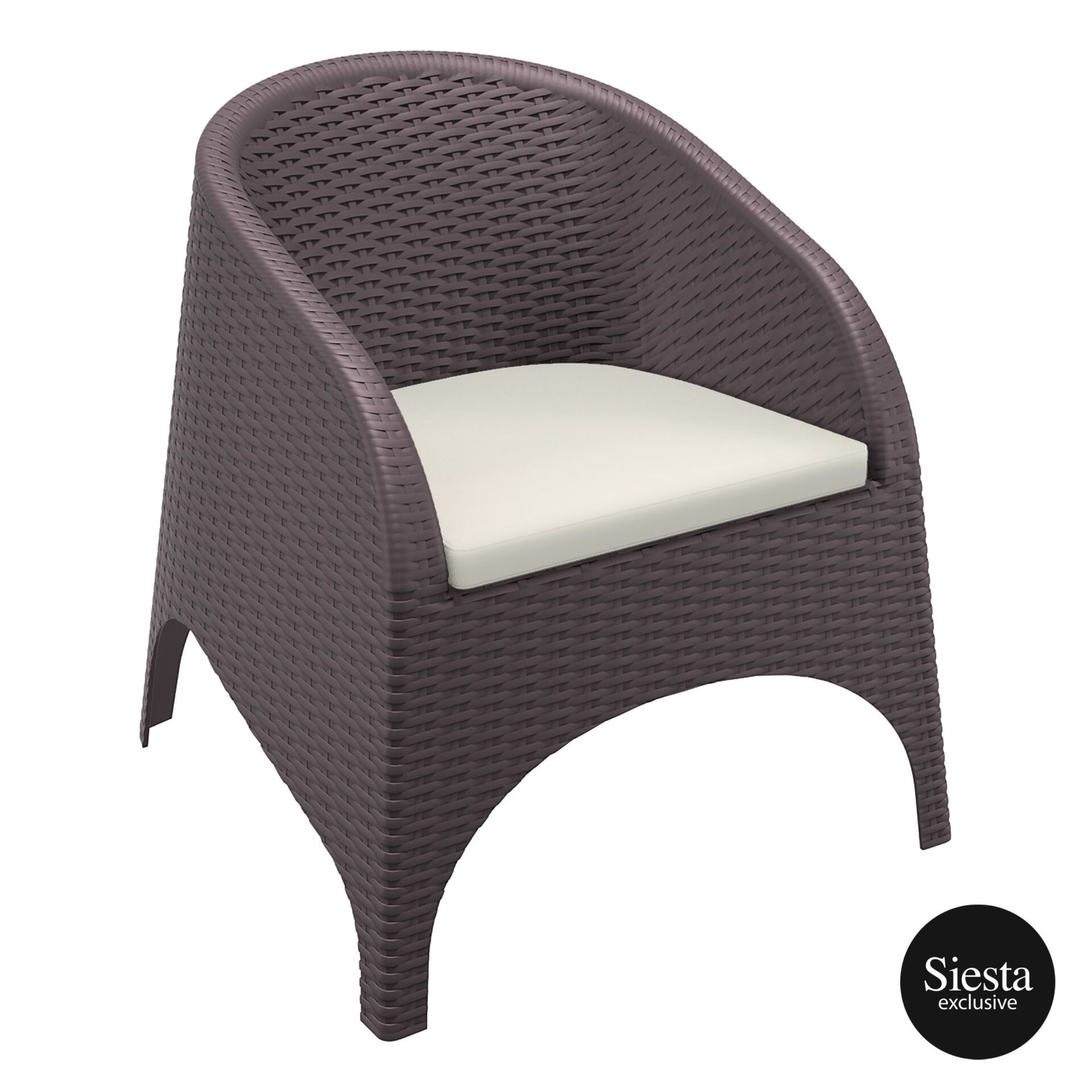 outdoor aruba armchair cushion brown front side