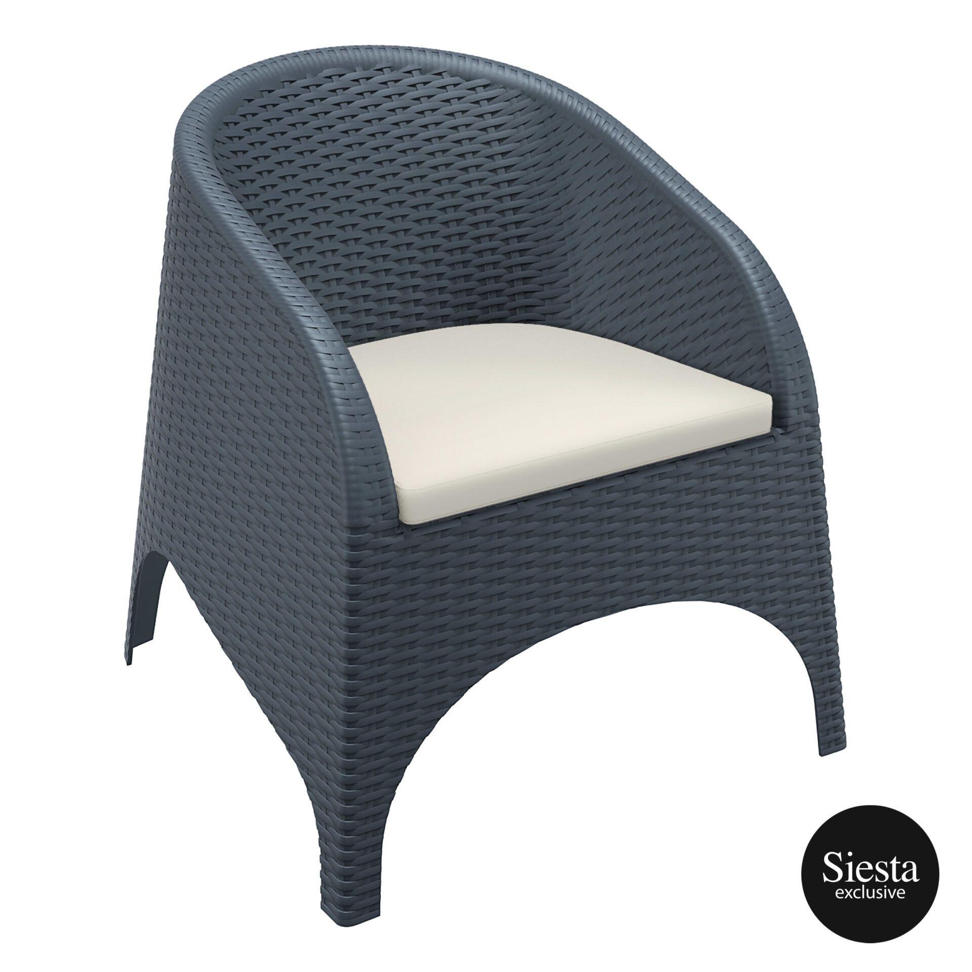 outdoor aruba armchair cushion darkgrey front side