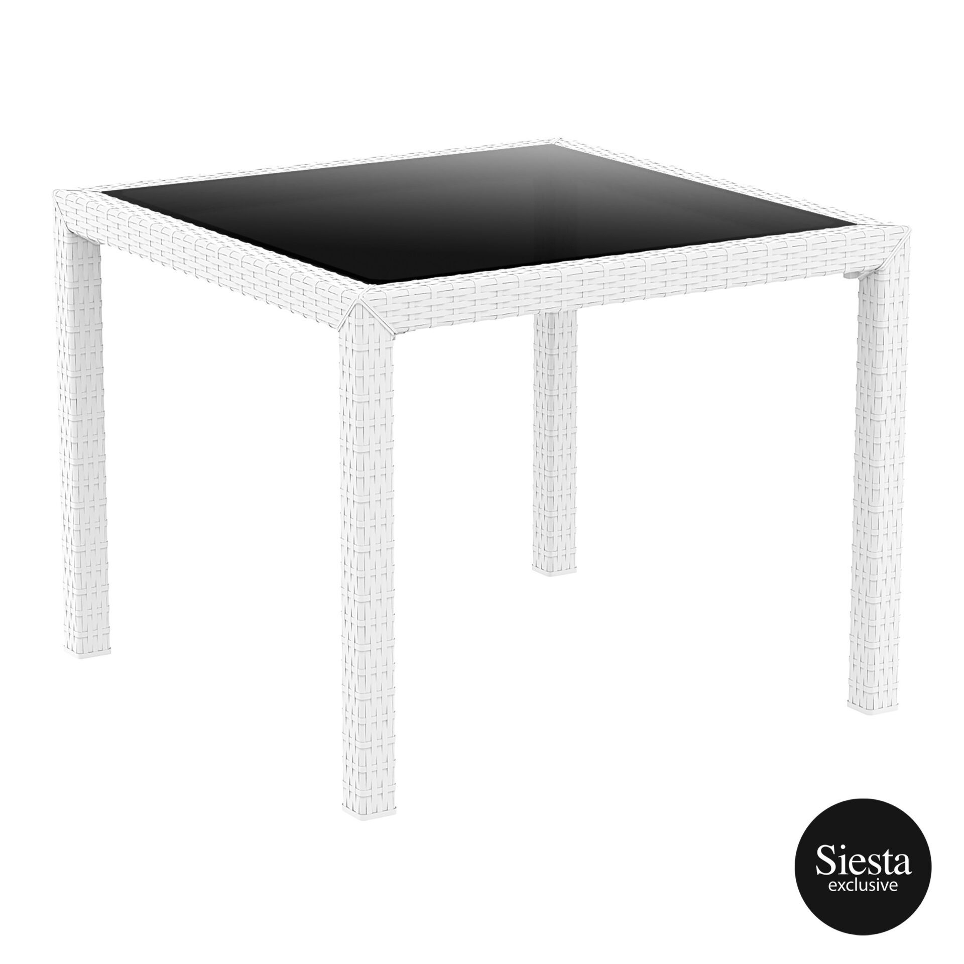 outdoor resin rattan cafe glass top bali table white front side