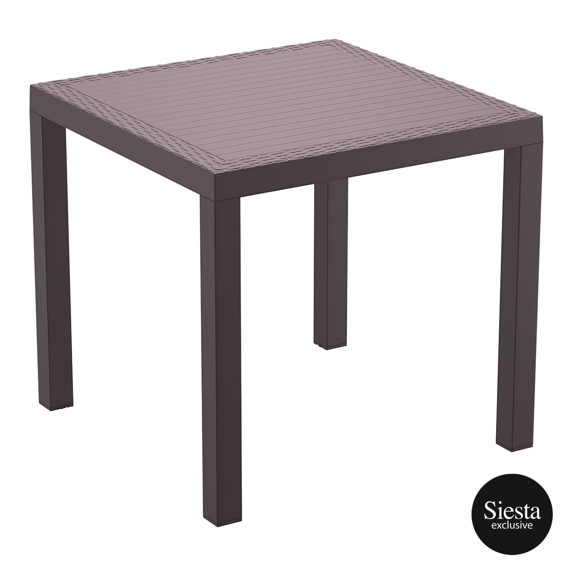 outdoor resin rattan cafe plastic top bali table 80 brown front side