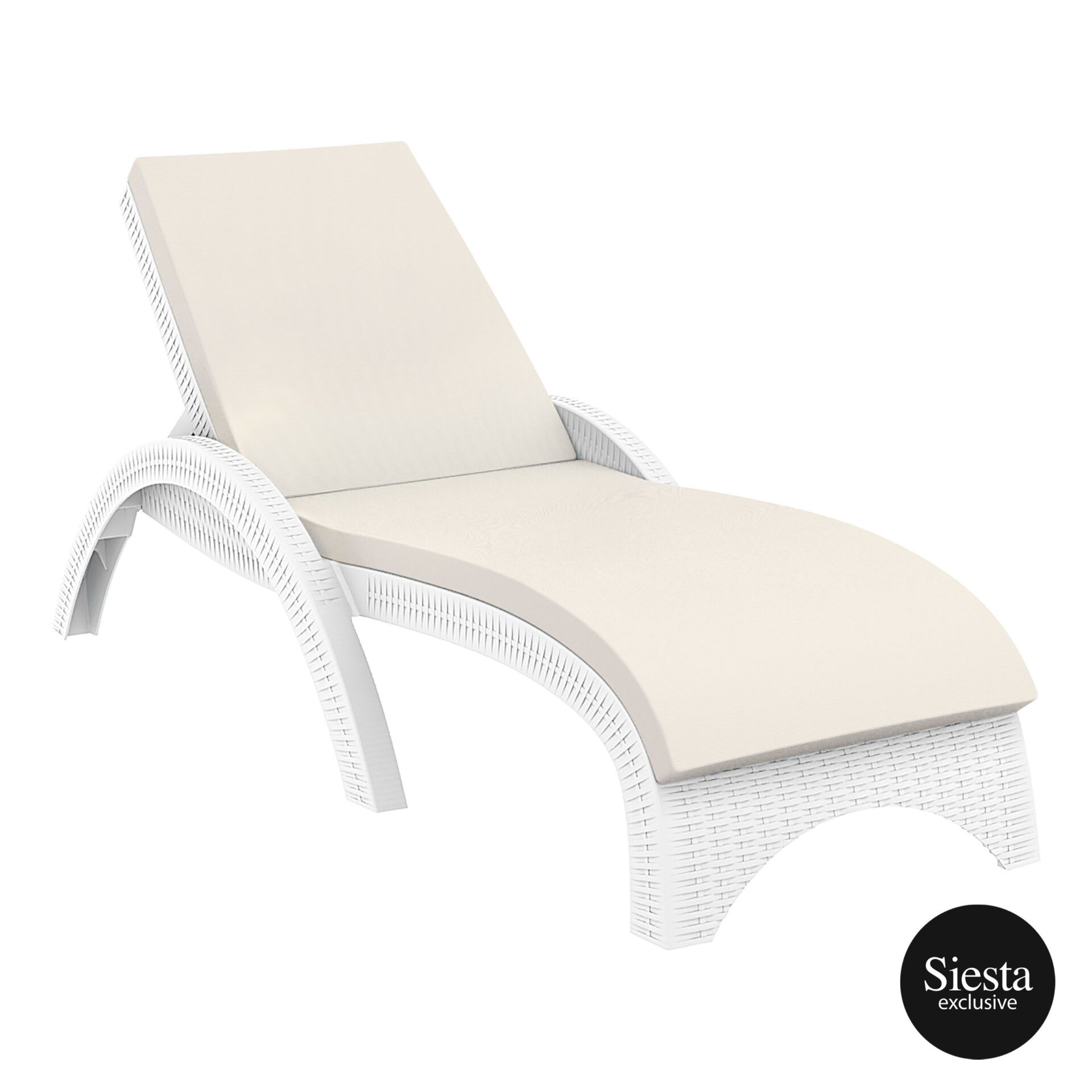 outdoor resin rattan fiji sunlounger cushion white front side