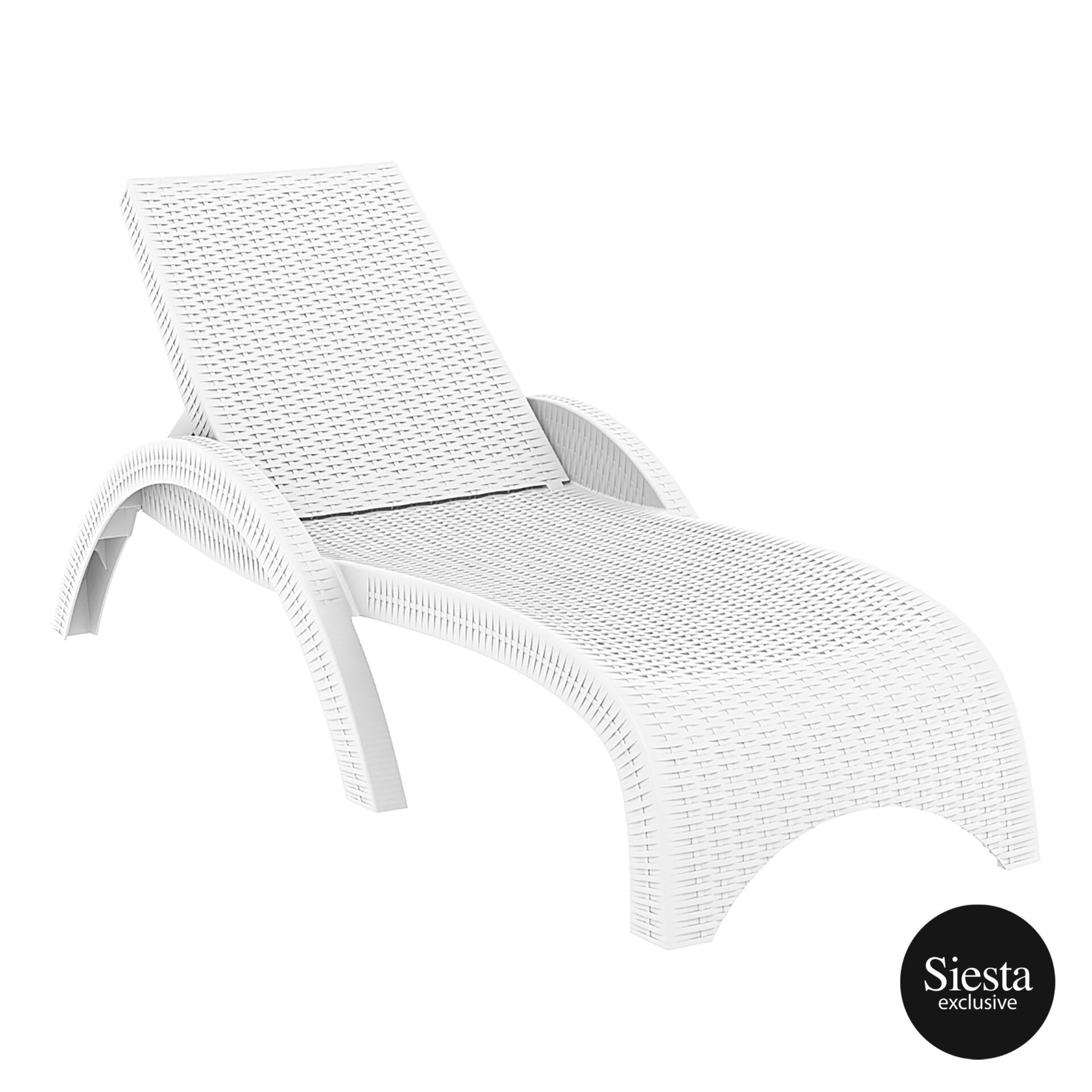 outdoor resin rattan fiji sunlounger white front side