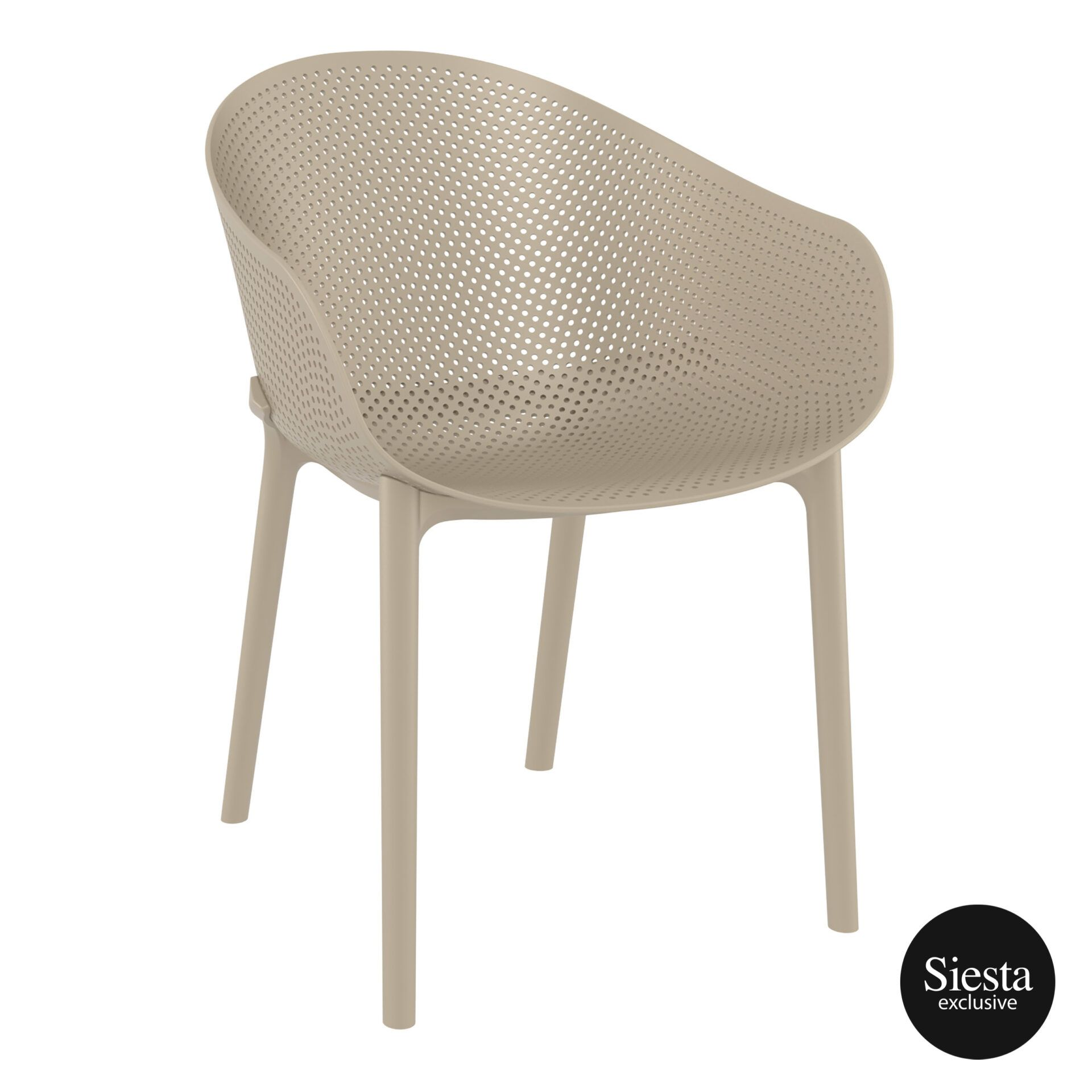 outdoor seating polypropylene sky chair taupe front side