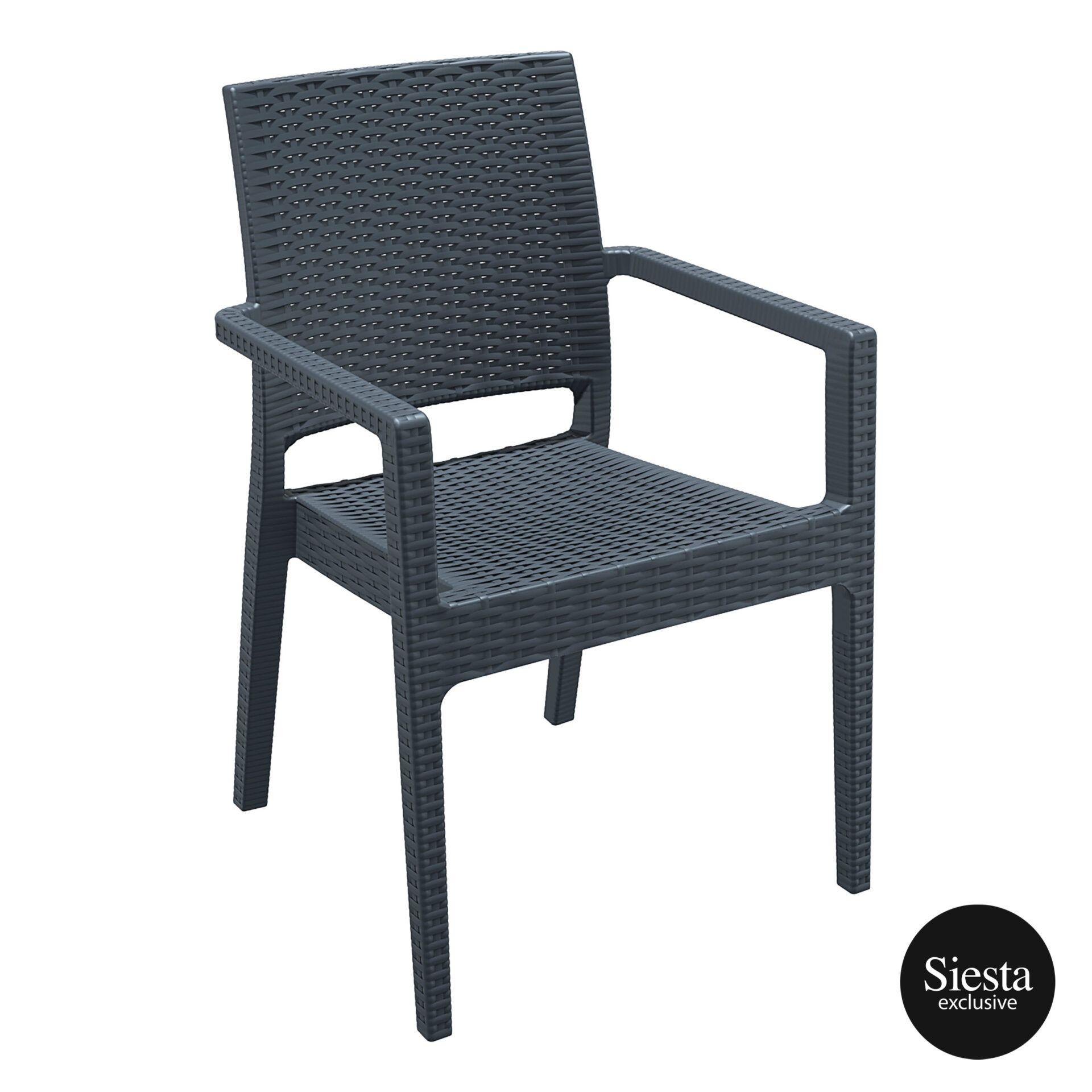 outdoor seating resin rattan ibiza armchair darkgrey front side 2