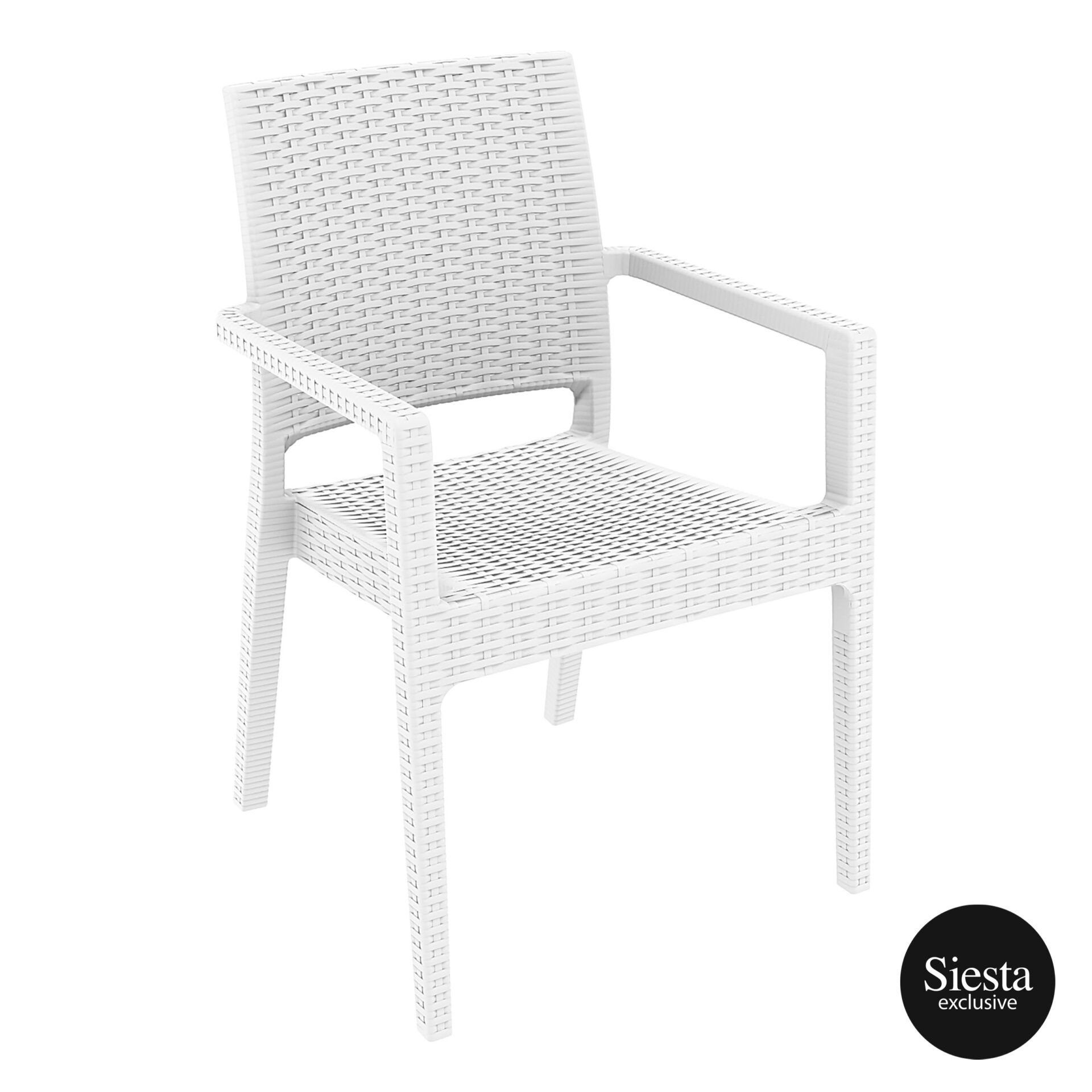 outdoor seating resin rattan ibiza armchair white front side 2