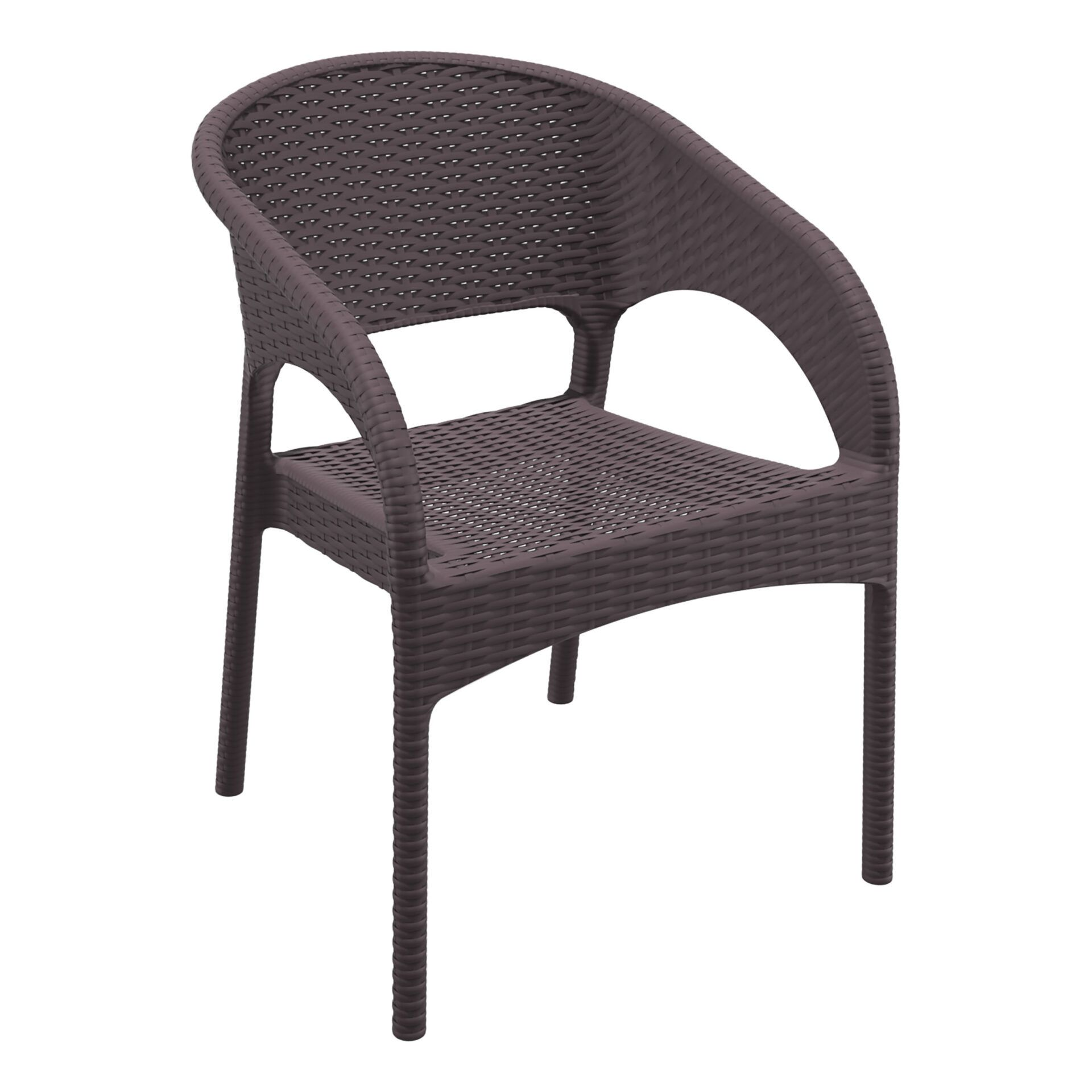 outdoor seating resin rattan panama armchair brown front side