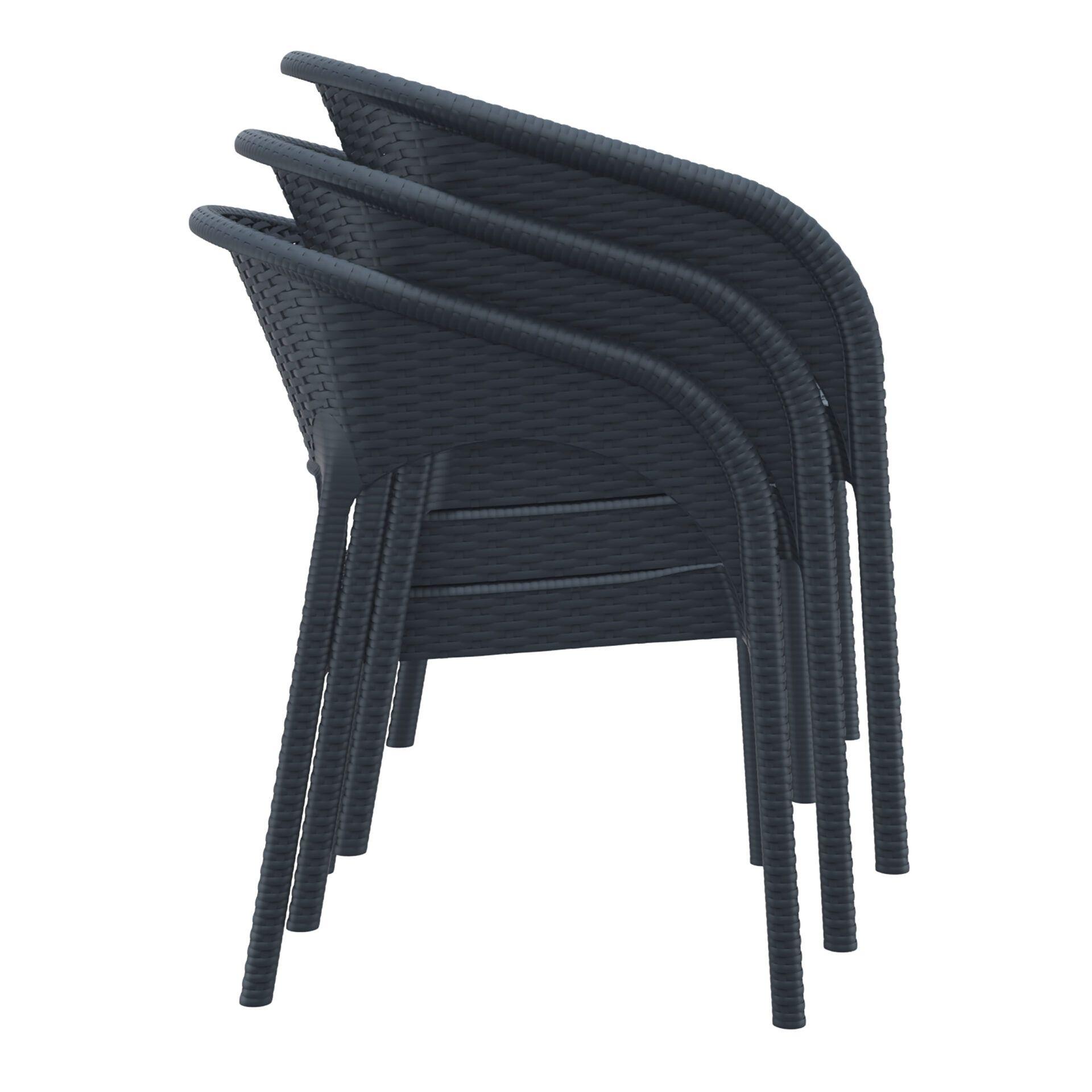 outdoor seating resin rattan panama armchair stack