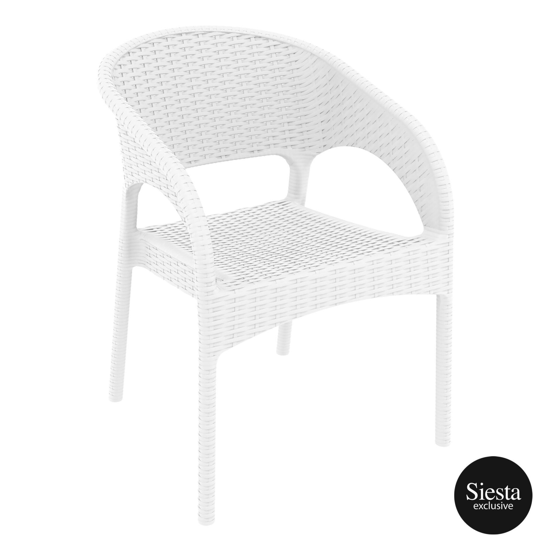 outdoor seating resin rattan panama armchair white front side 1