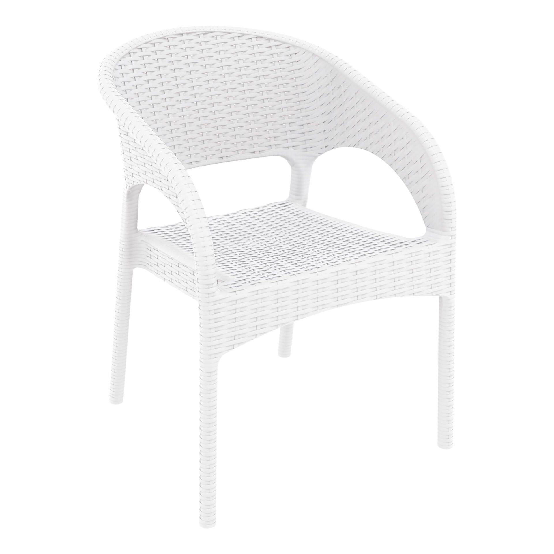 outdoor seating resin rattan panama armchair white front side
