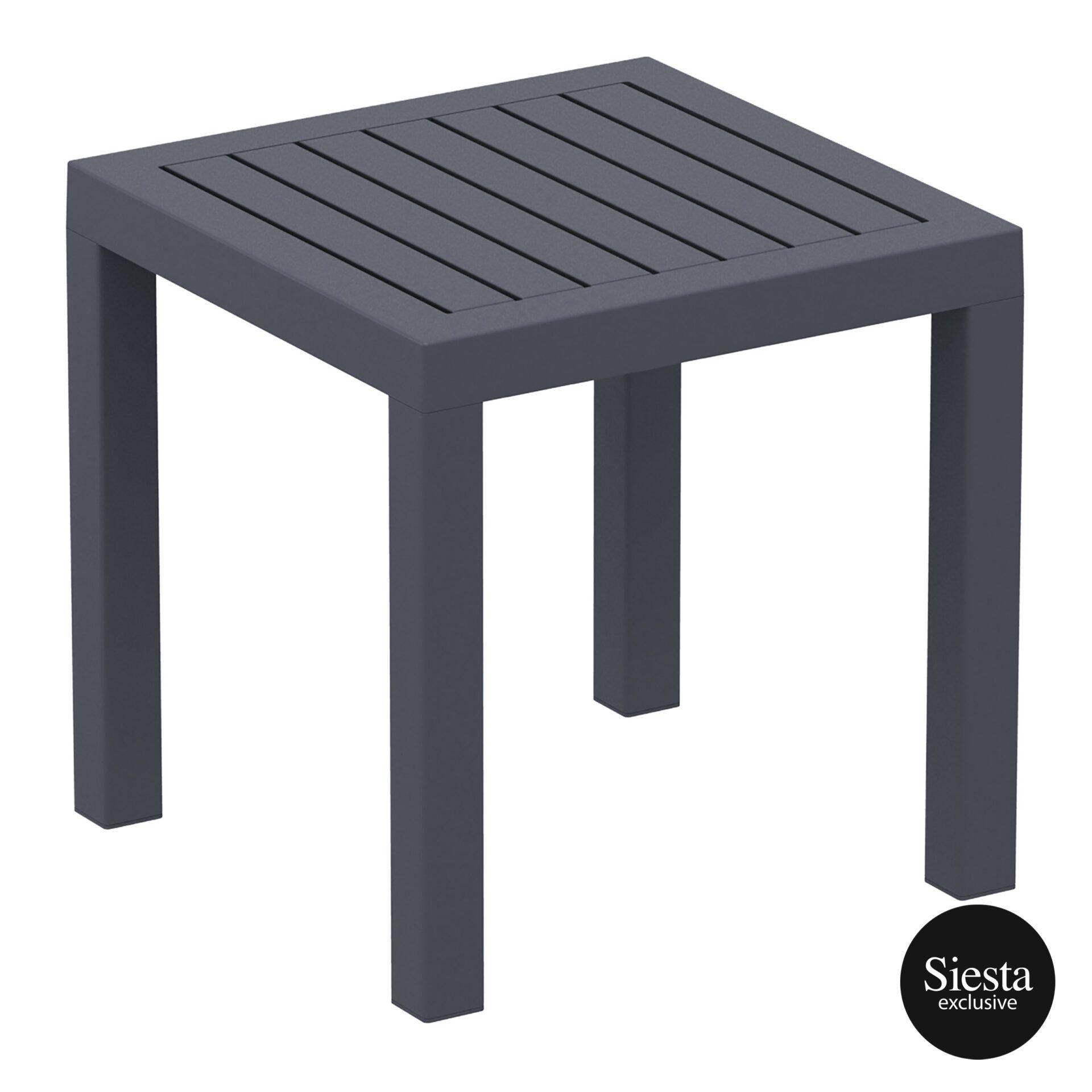 plastic outdoor resort ocean side table darkgrey front side