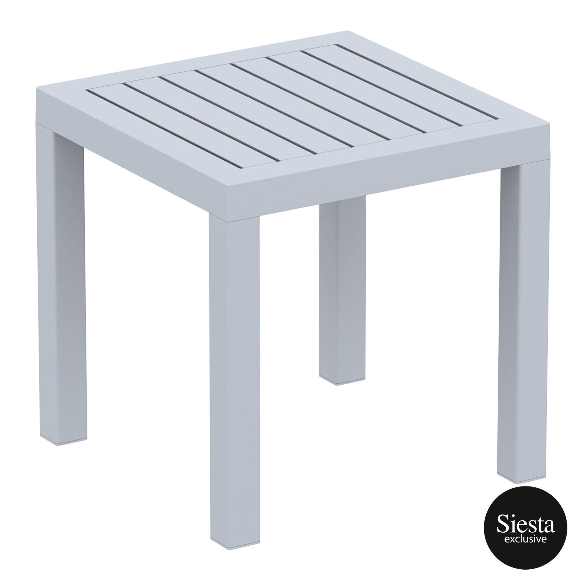 plastic outdoor resort ocean side table silvergrey front side 2