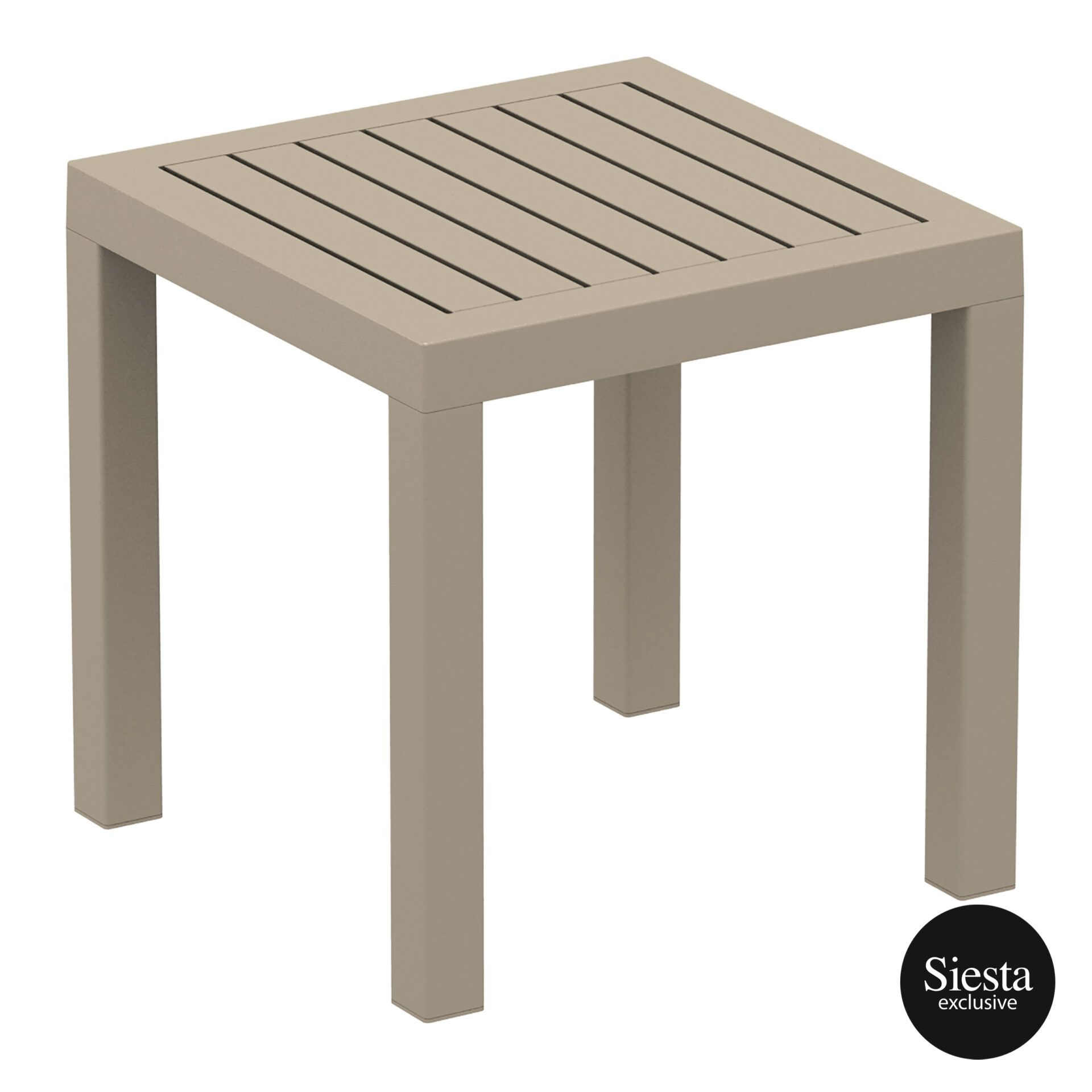 plastic outdoor resort ocean side table taupe front side