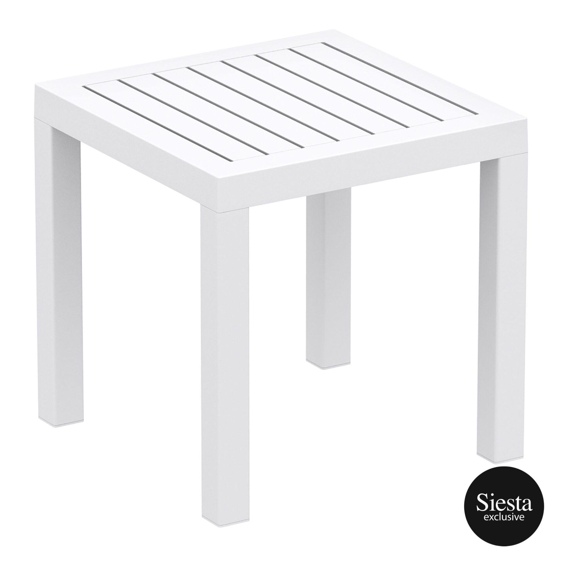 plastic outdoor resort ocean side table white front side