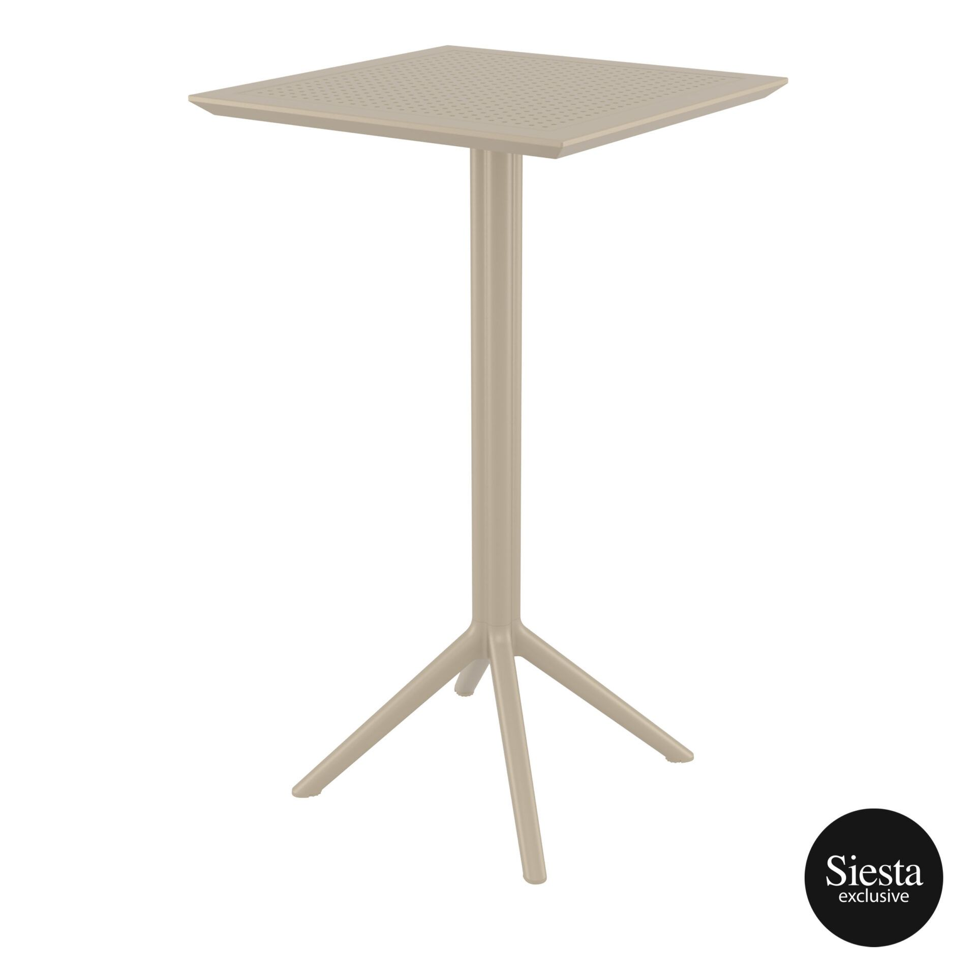 polypropylene outdoor sky folding bar table 60 taupe front side