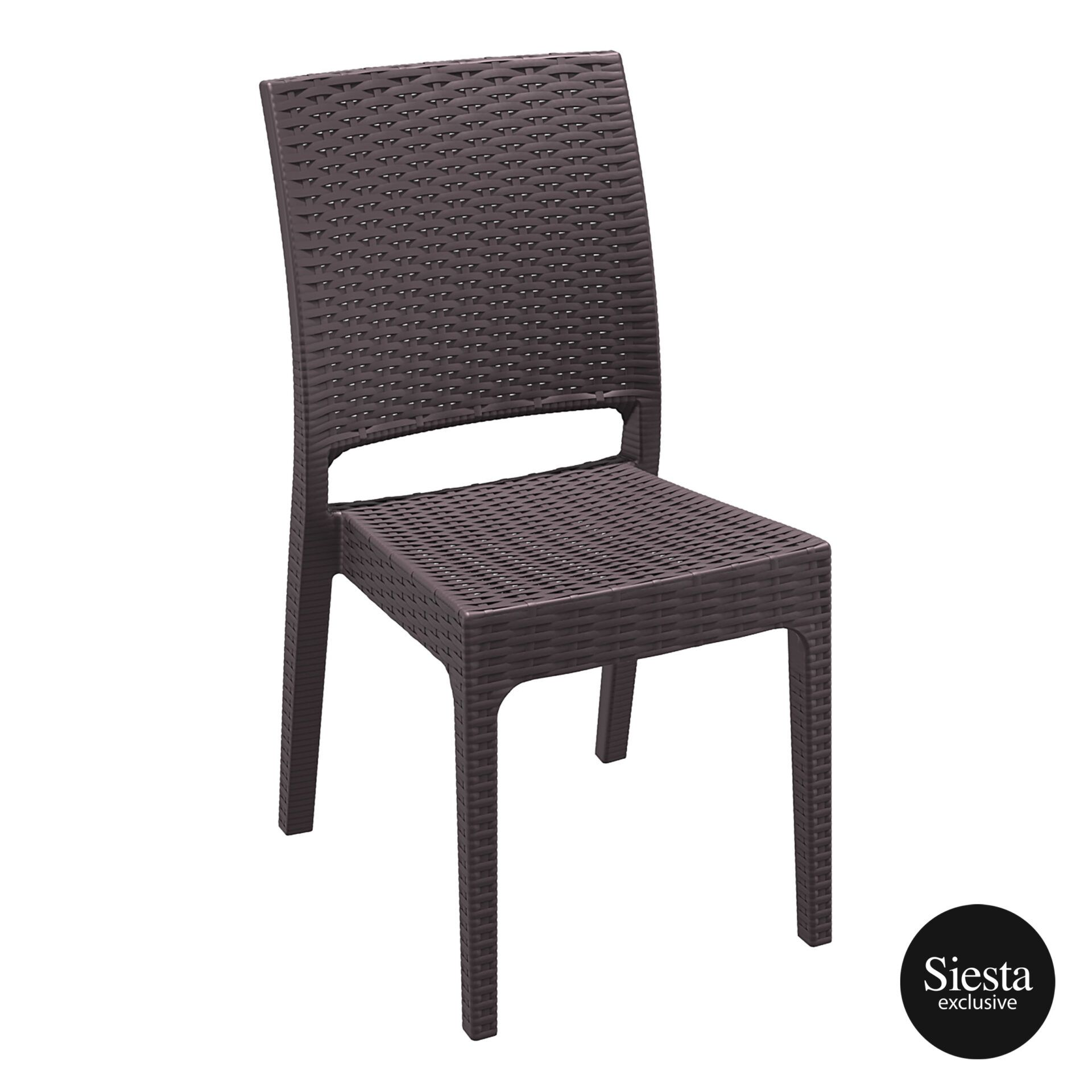 resin rattan dining florida chair brown front side 1