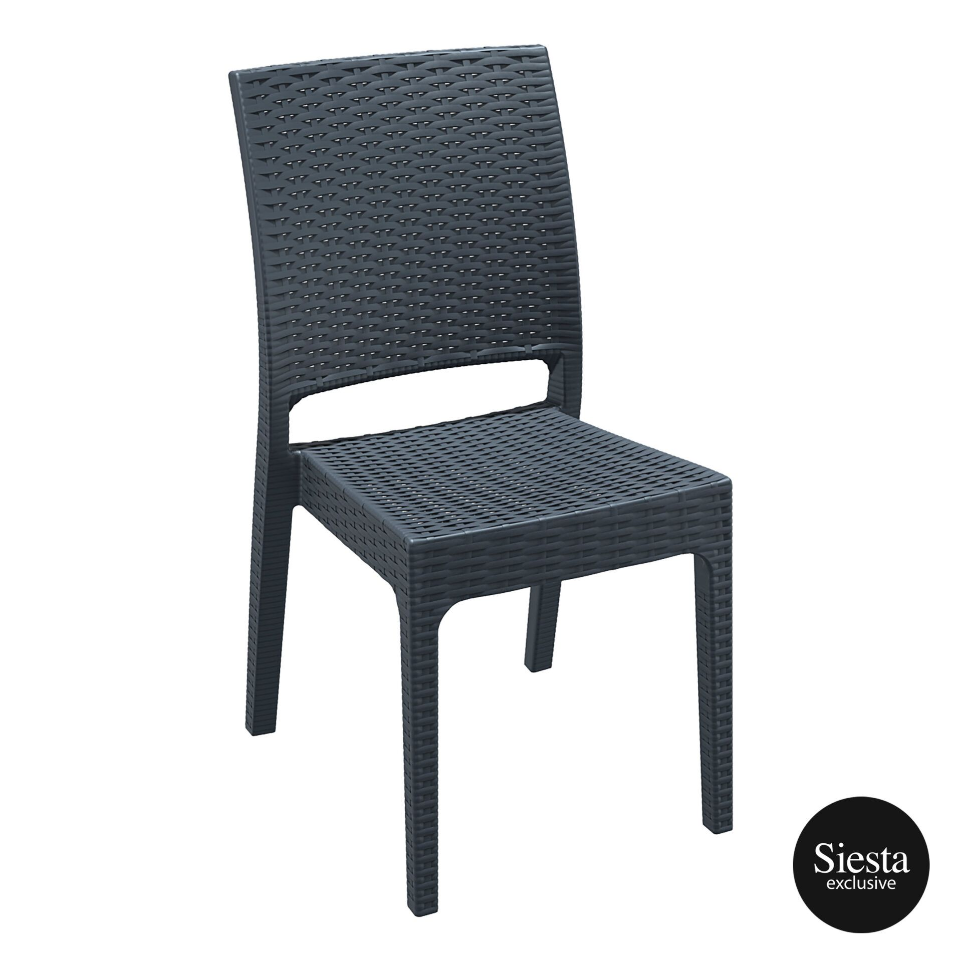 resin rattan dining florida chair darkgrey front side 1