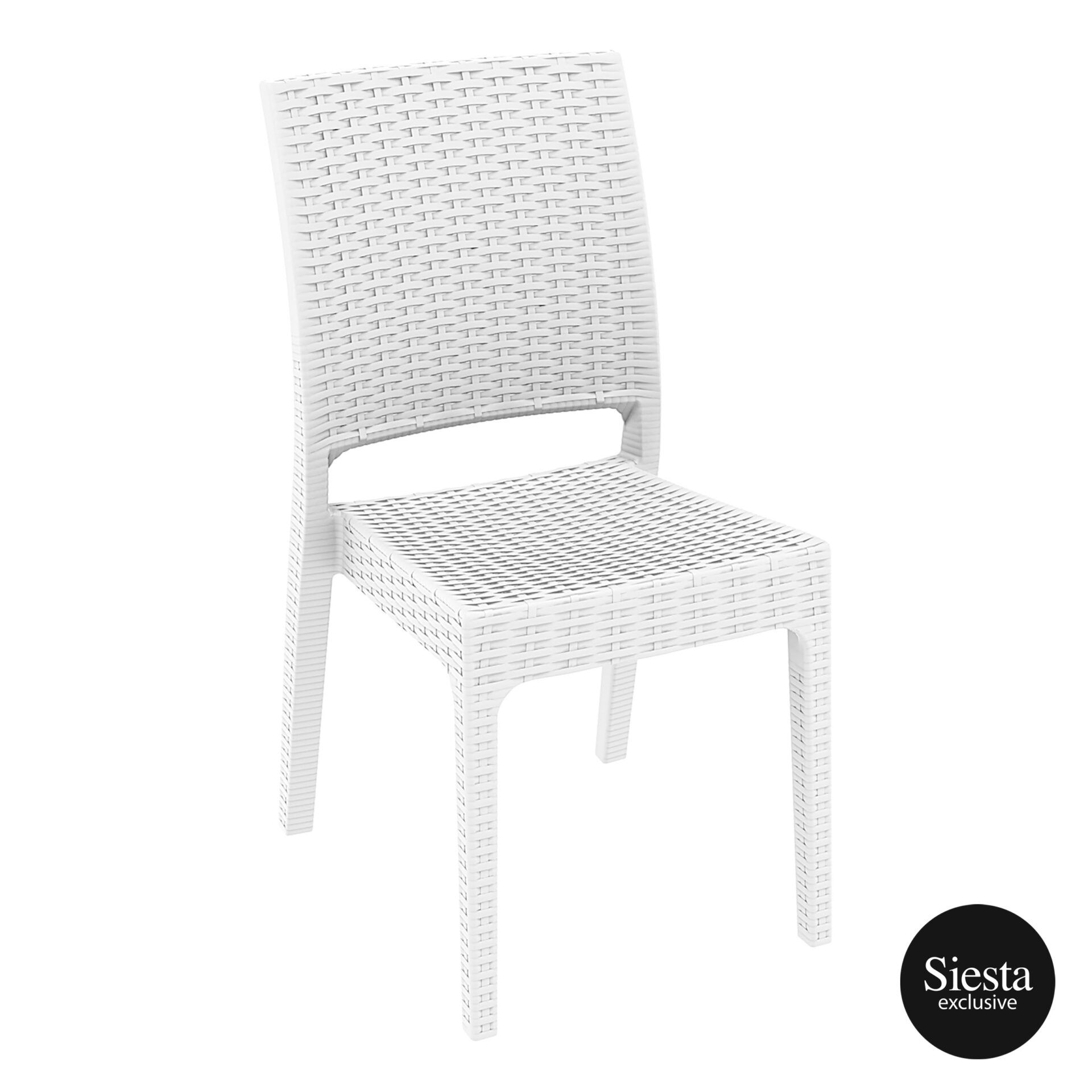 resin rattan dining florida chair white front side 1