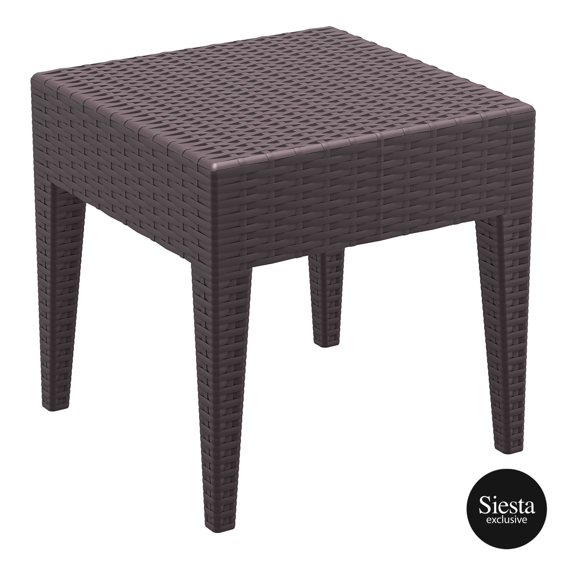 resin rattan miami tequila lounge side table brown front side 2
