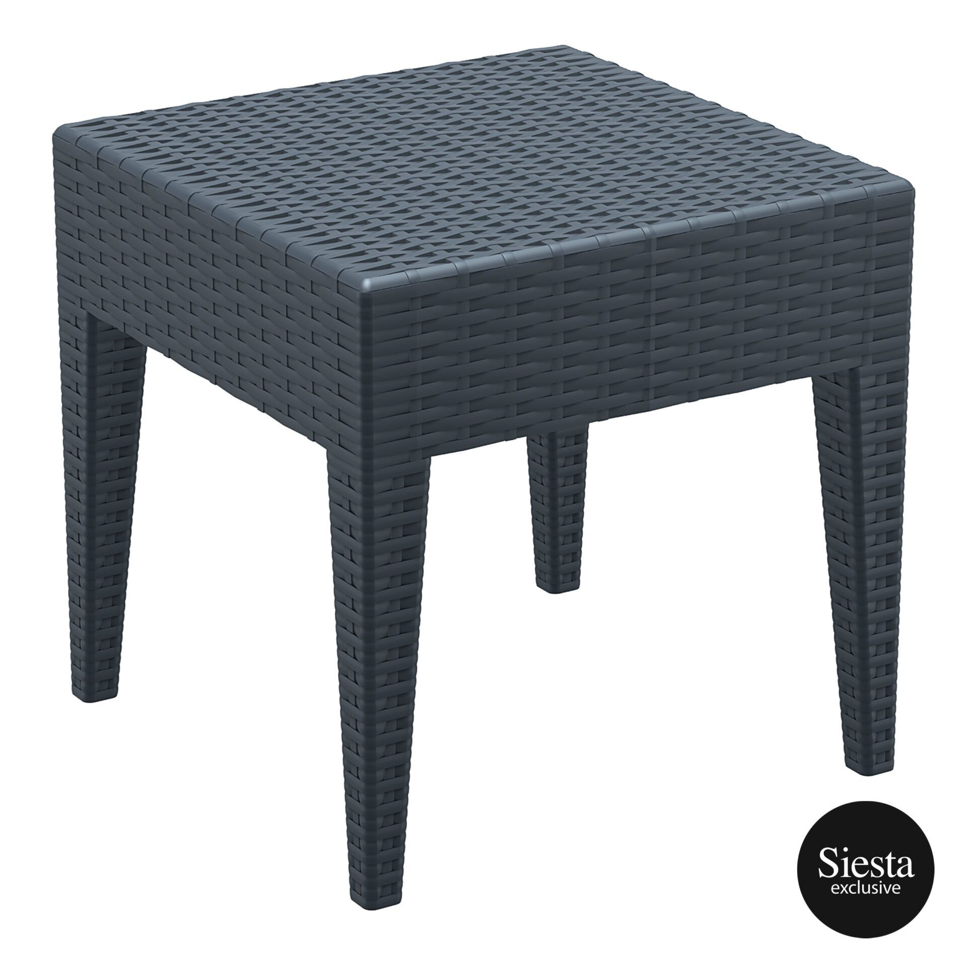 resin rattan miami tequila lounge side table darkgrey front side