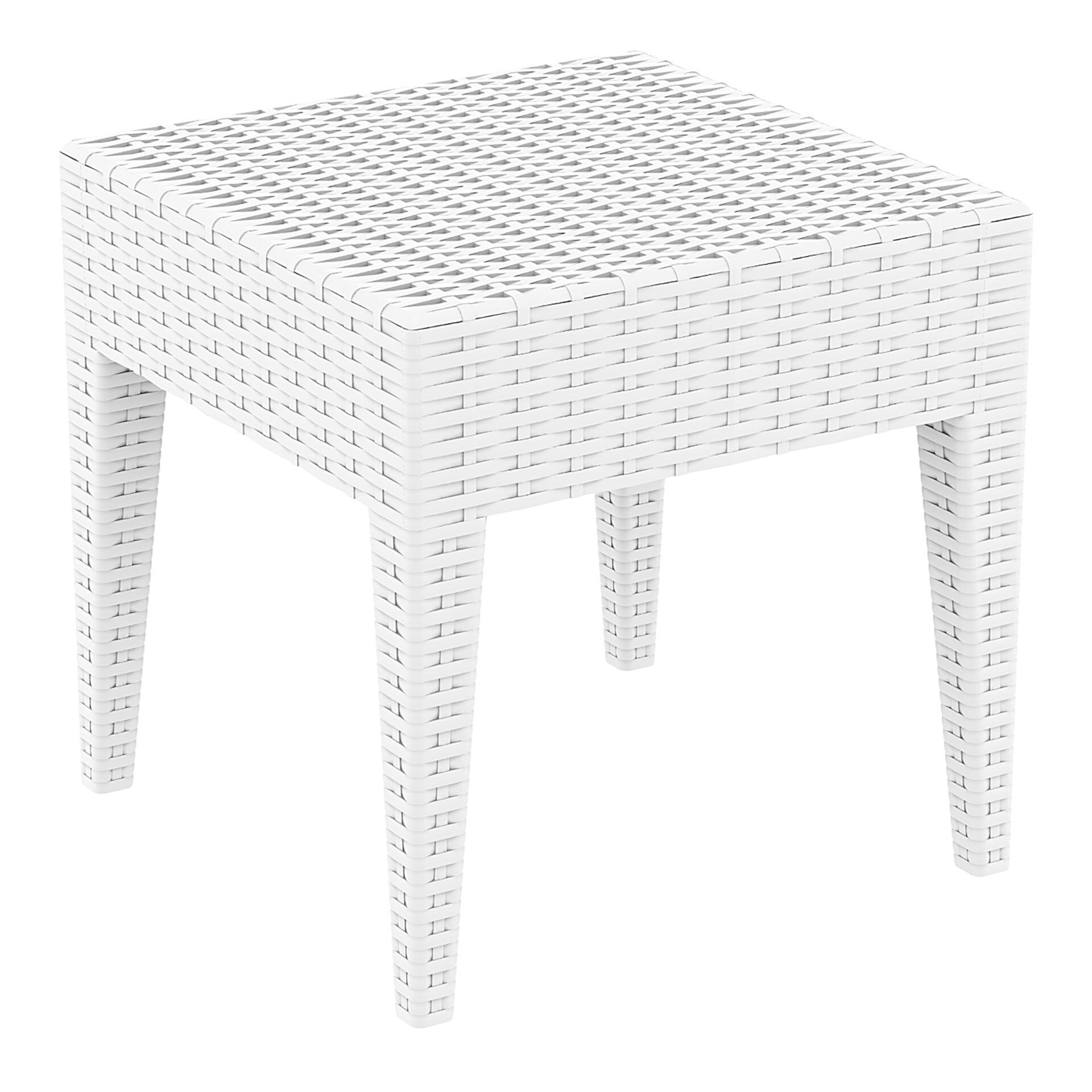 resin rattan miami tequila lounge side table white front side 1