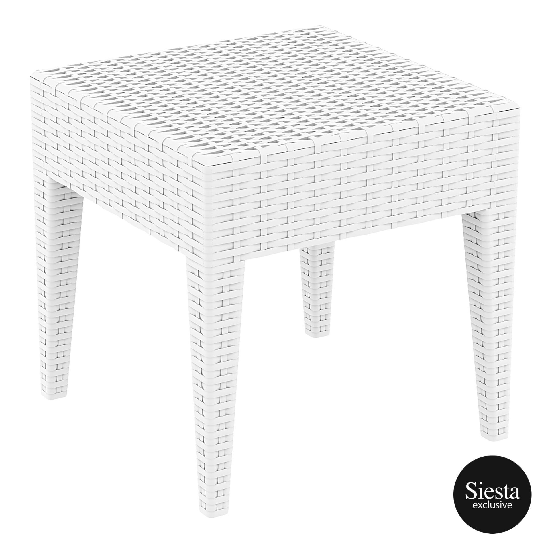 resin rattan miami tequila lounge side table white front side 4