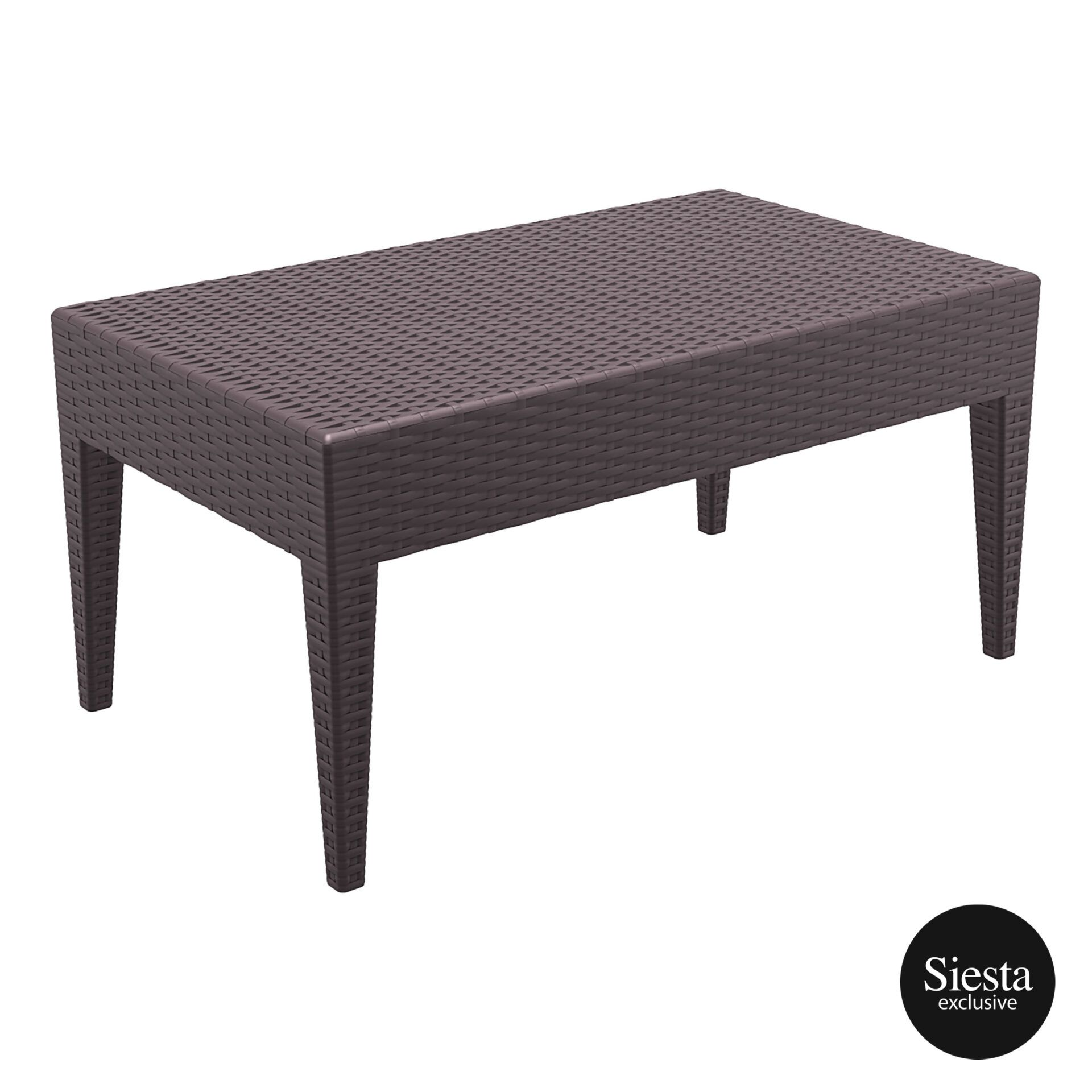 resin rattan miami tequila lounge table brown front side 2