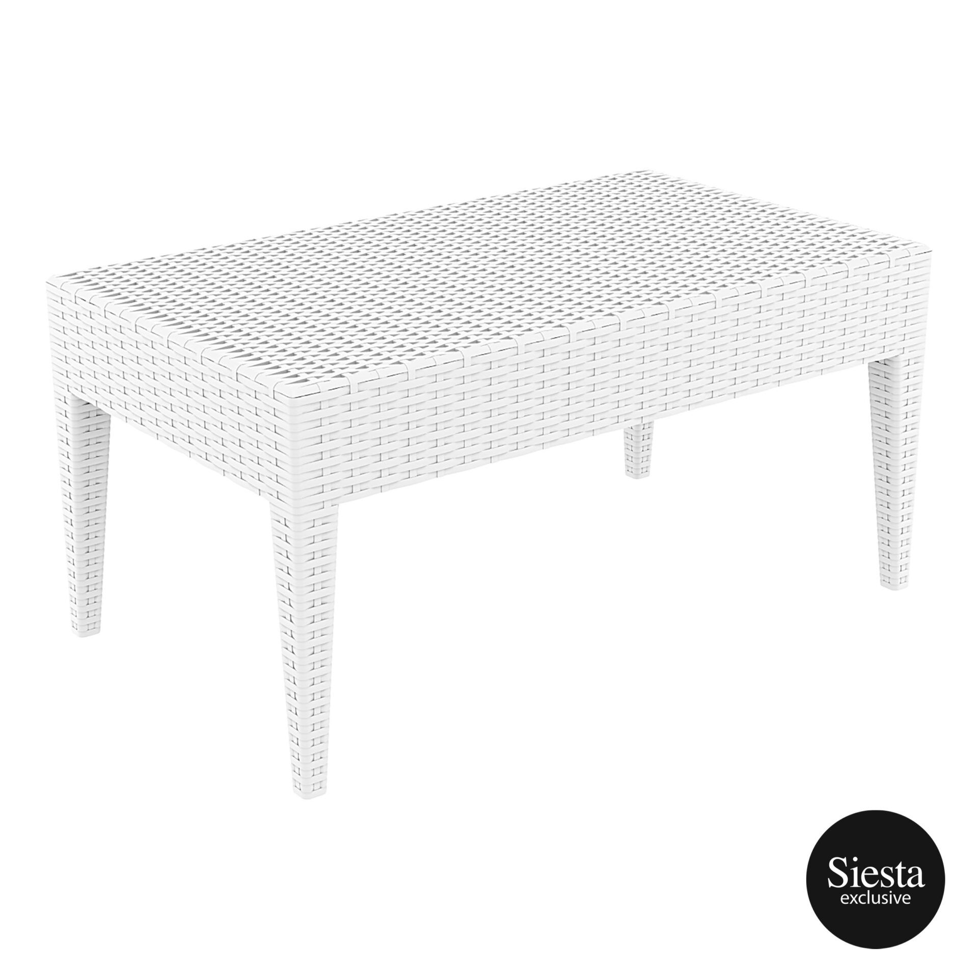 resin rattan miami tequila lounge table white front side 3