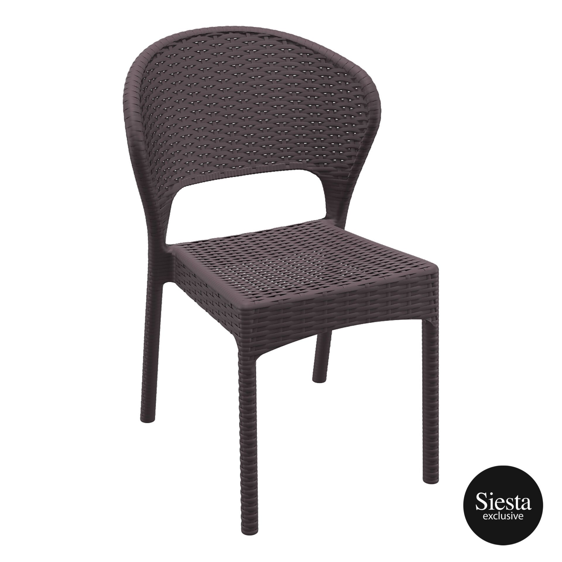 resin rattan outdoor daytona chair brown front side