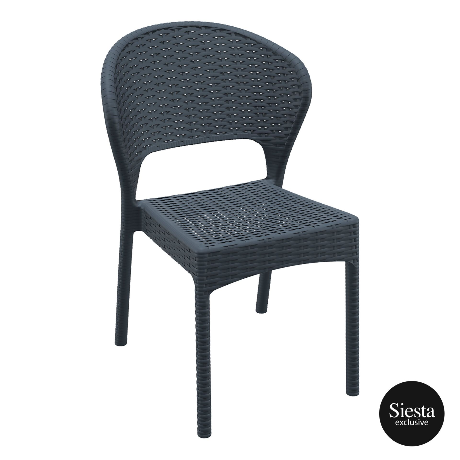 resin rattan outdoor daytona chair darkgrey front side 1