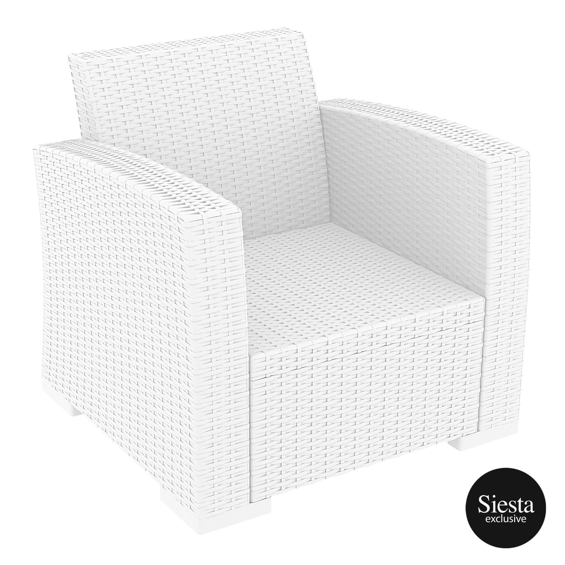 Resin Rattan Monaco Armchair white front side