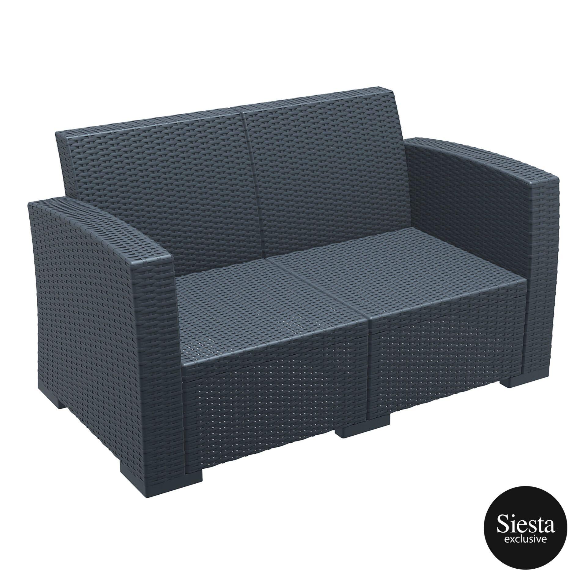 Resin Rattan Monaco Lounge Sofa darkgrey front side