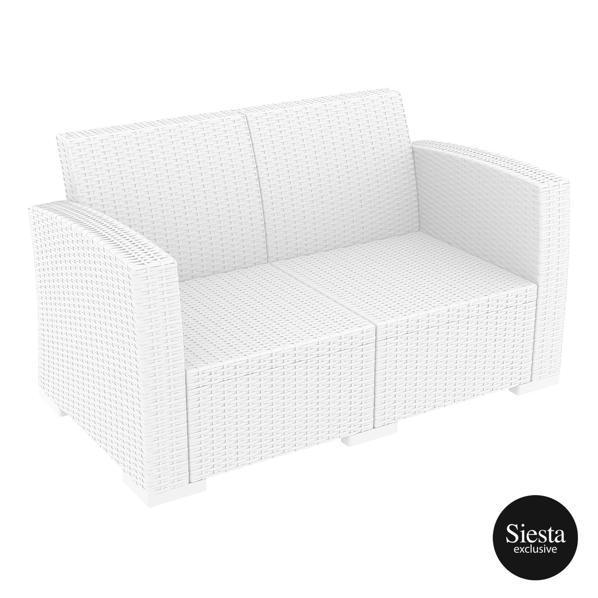 Resin Rattan Monaco Lounge Sofa white front side