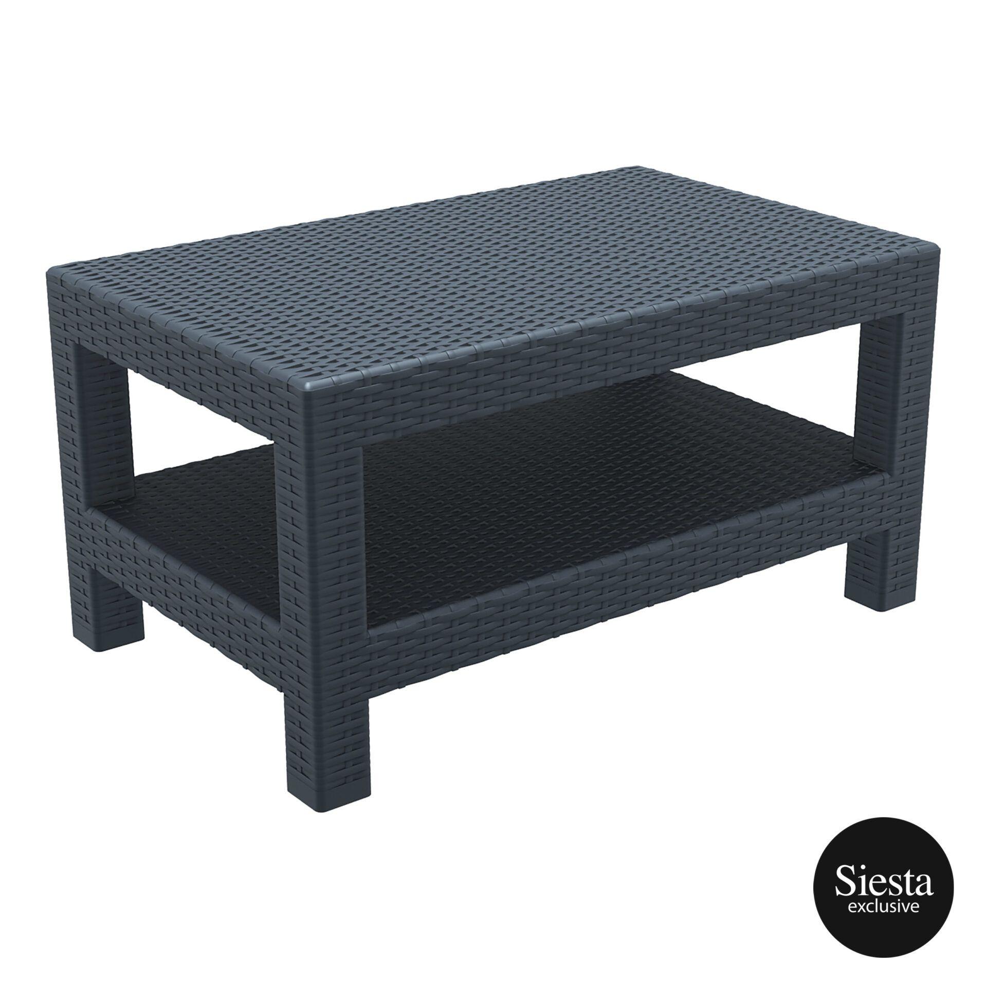 Resin Rattan Monaco Lounge Table darkgrey front side