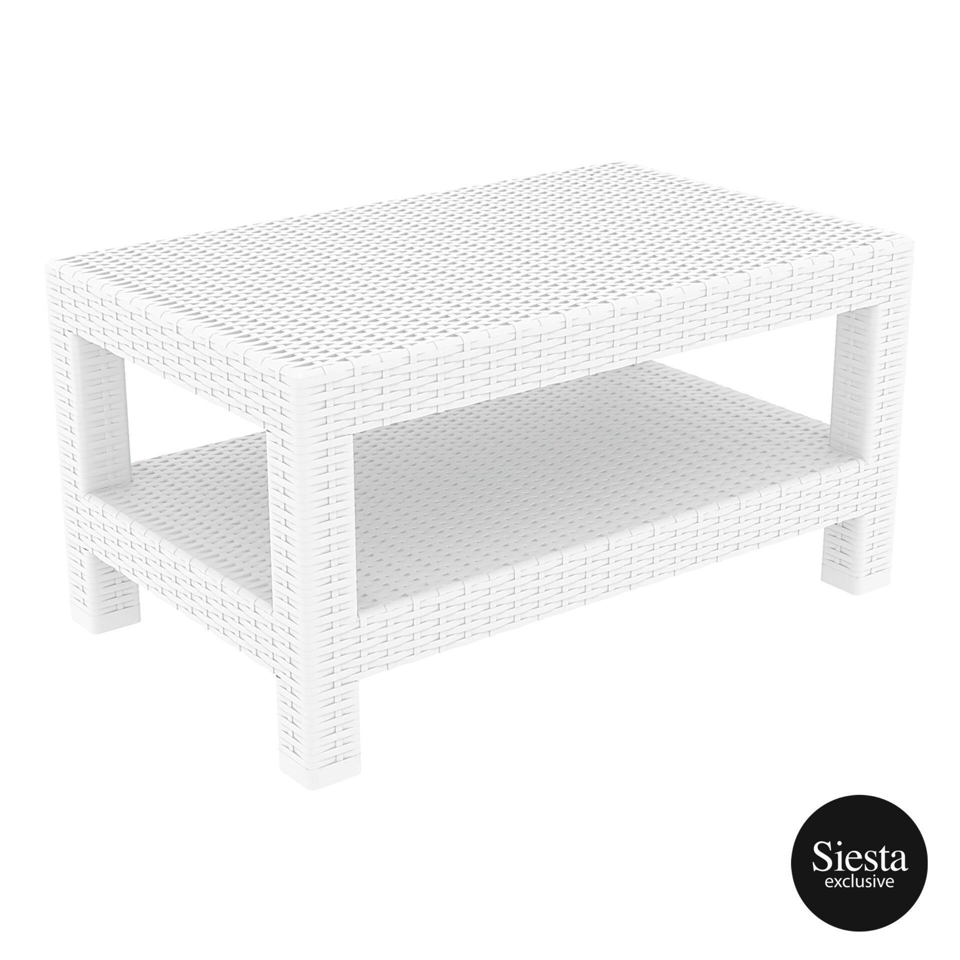 Resin Rattan Monaco Lounge Table white front side